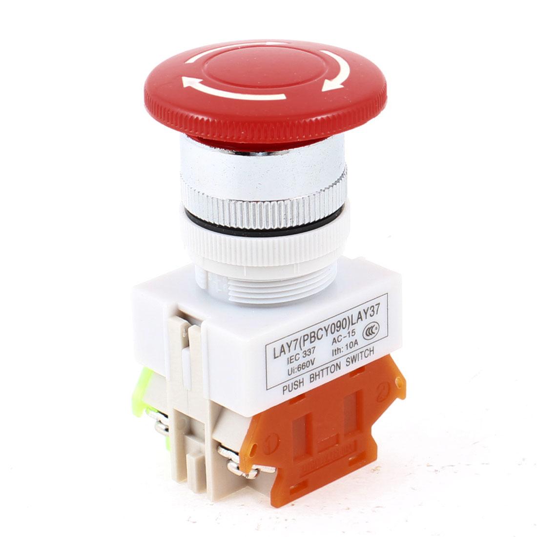 Red Mushroom Head 4 Terminal 1NC 1NO DPST Emergency Push Botton Switch 660V 10A