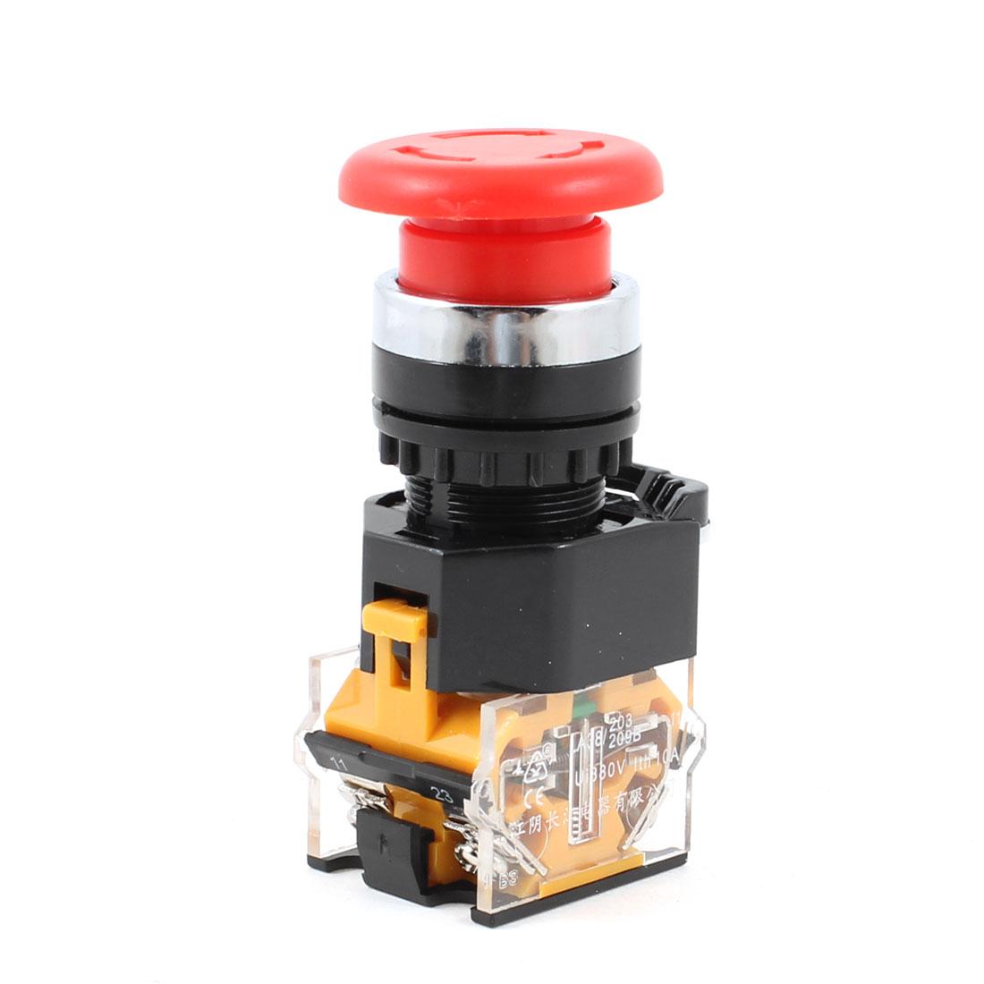 "7/8"" Thread Red Mushroom Emergency Stop Locking Push Button Switch 380VAC 10A"