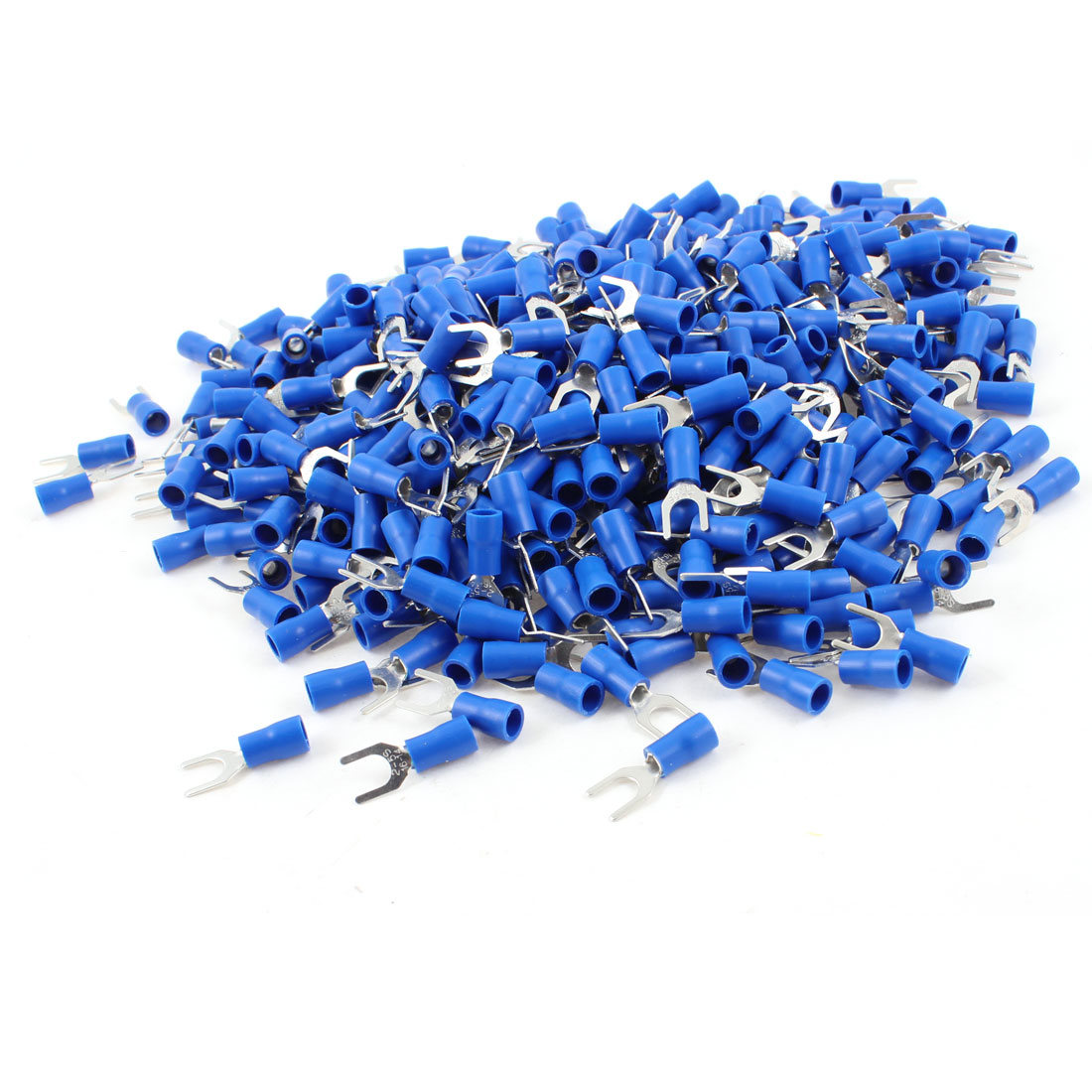 1000 Pcs SV2-5S Blue Pre Insulated Fork Terminals for AWG 16-14 Wire #10 Stud