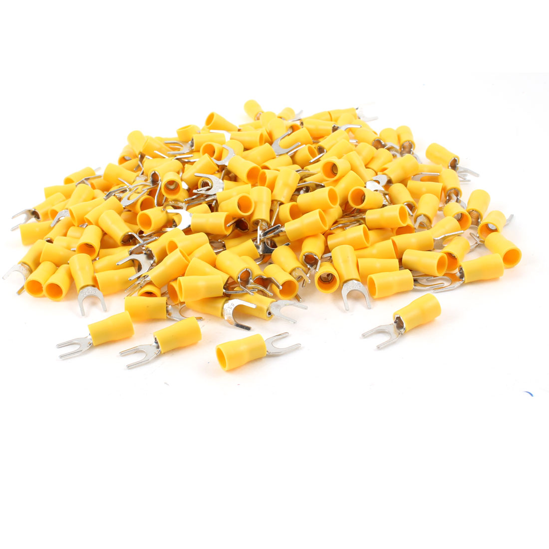 "500Pcs SV5.5-6S Pre Insulated Fork Terminal Yellow for AWG 12-10 Wire 1/4"" Stud"