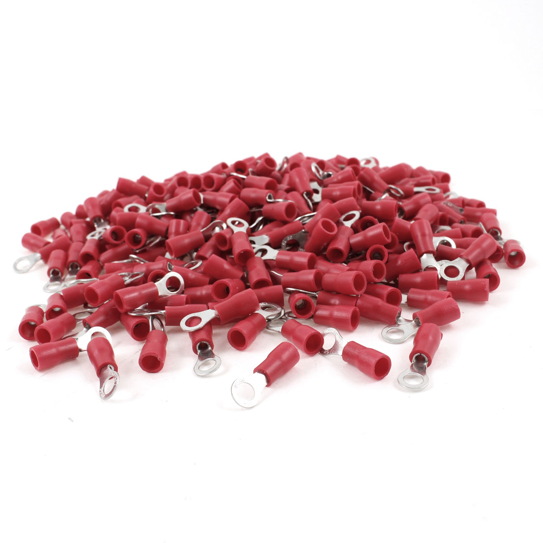 1000Pcs Red Pre Insulated Ring Terminal RVS1.25-4 for #8 Bolt AWG 22-16 Wire