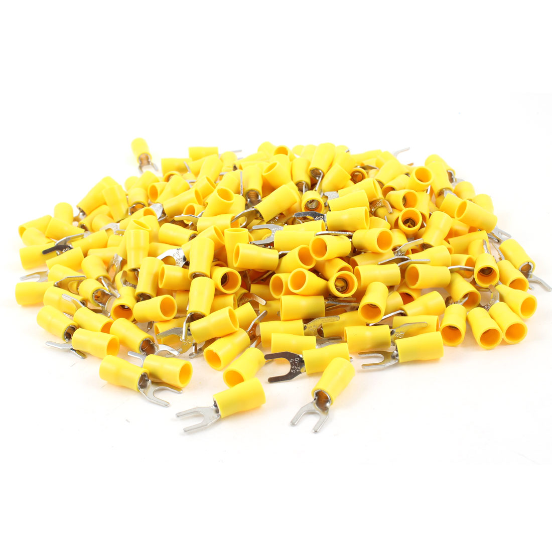 500Pcs SV5.5-5 Pre Insulated Fork Terminal Yellow for AWG 12-10 Wire #10 Stud