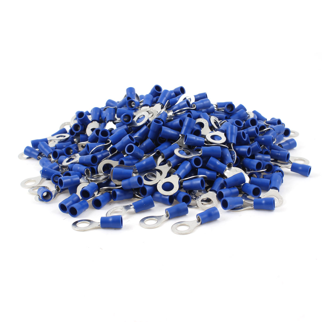 "1000pcs RV2-6 Pre Insulated Ring Terminals Blue for 1/4"" Stud AWG 16-14 Wire"