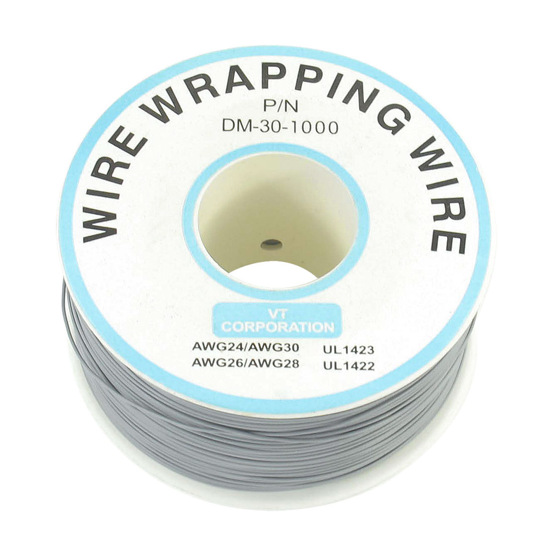 P/N DM-30-1000 Gray Insulated PVC Coated 30AWG Wire Wrapping Wires Reel 820Ft
