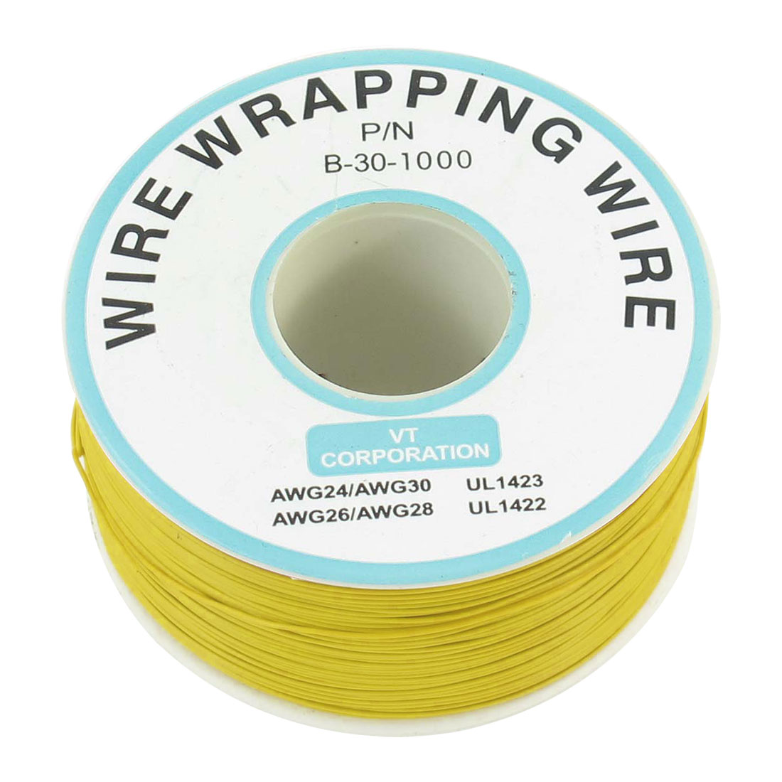 PCB Solder Yellow Flexible 0.25mm Core Dia 30AWG Wire Wrapping Wrap 820Ft