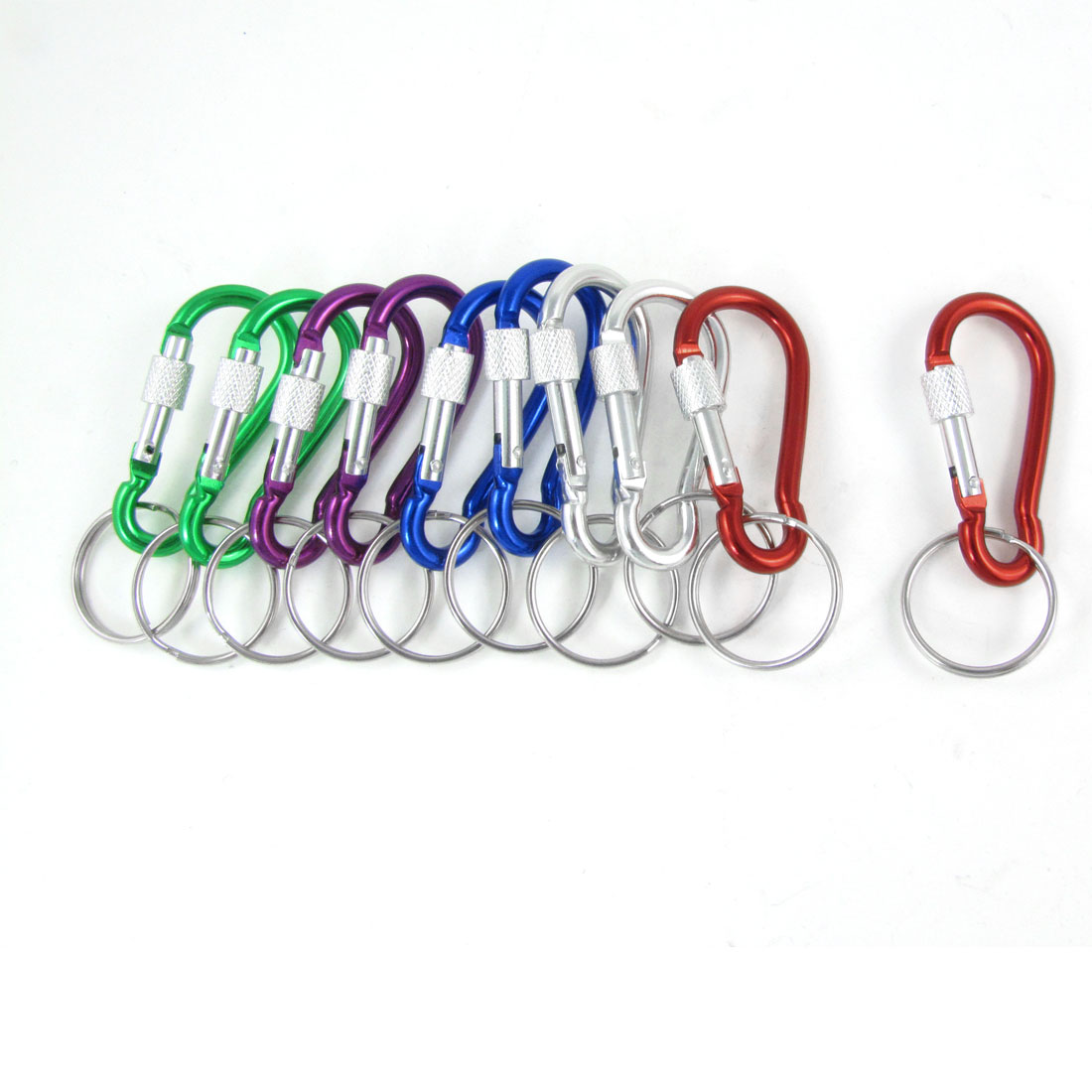 10 pcs Colored Aluminum Alloy Screw Lock Hiking Keychain Snap Clip Carabiner Hook