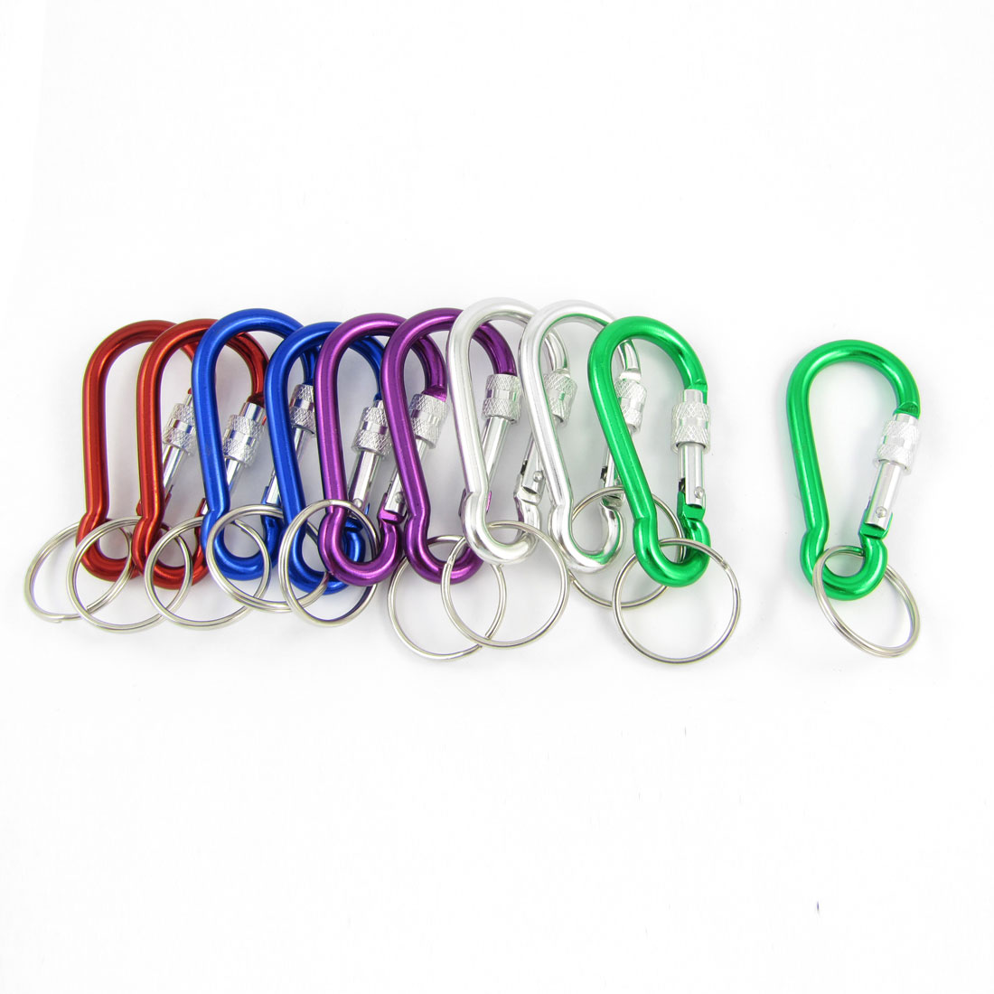 10 pcs Assorted Colored D Shape Aluminum Alloy Hiking Keychain Snap Clip Carabiner Hook Tool