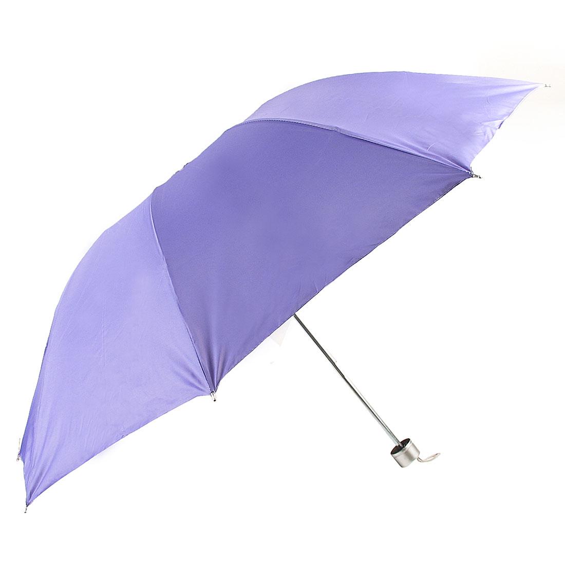 Portable Metallic Shaft Foldable Sun Umbrella Parasol Light Purple
