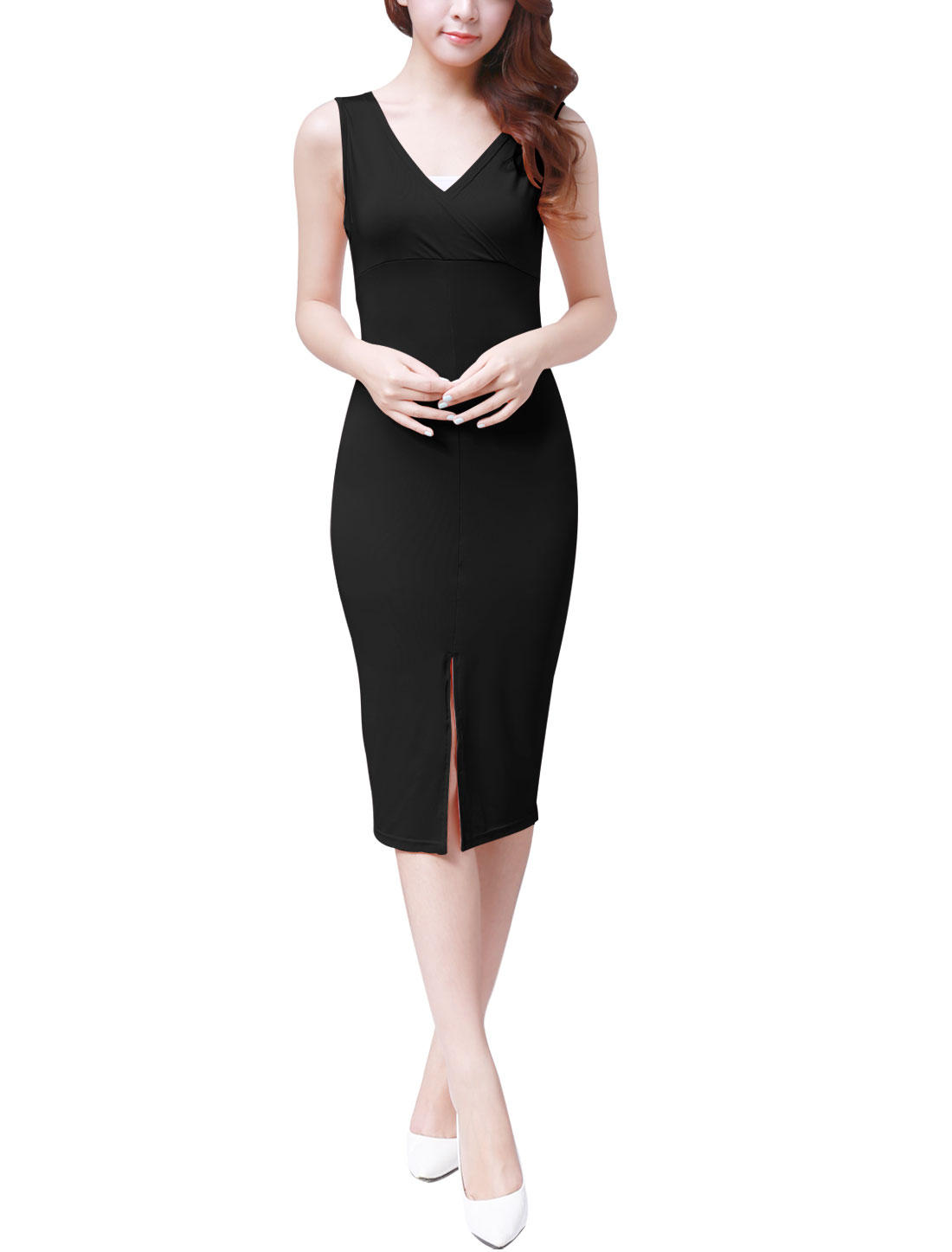 Lady NEW V-Neck Sleeveless Slim Fit Pure Black Knee-Length Dress M