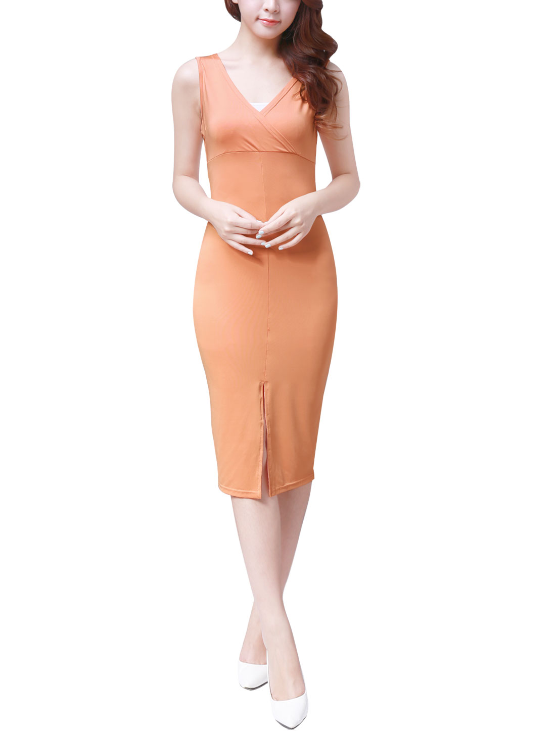 Women Crossover V Neck Sleeveless Split Front Bodycon Midi Dress Pink L