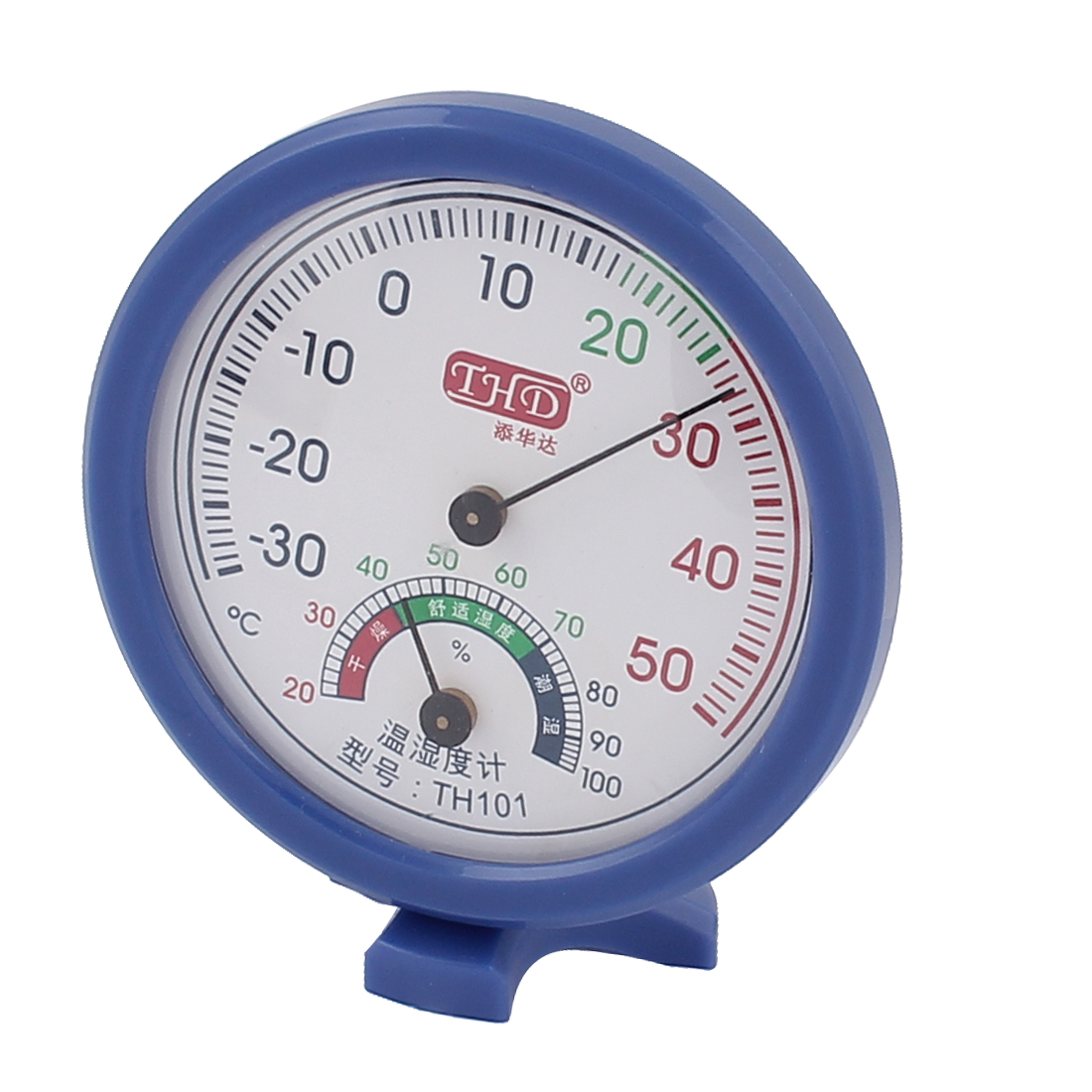 """Measuring Tool 2.8"""" Dia Round Shape Dial Thermometer Hygrometer White Blue"""