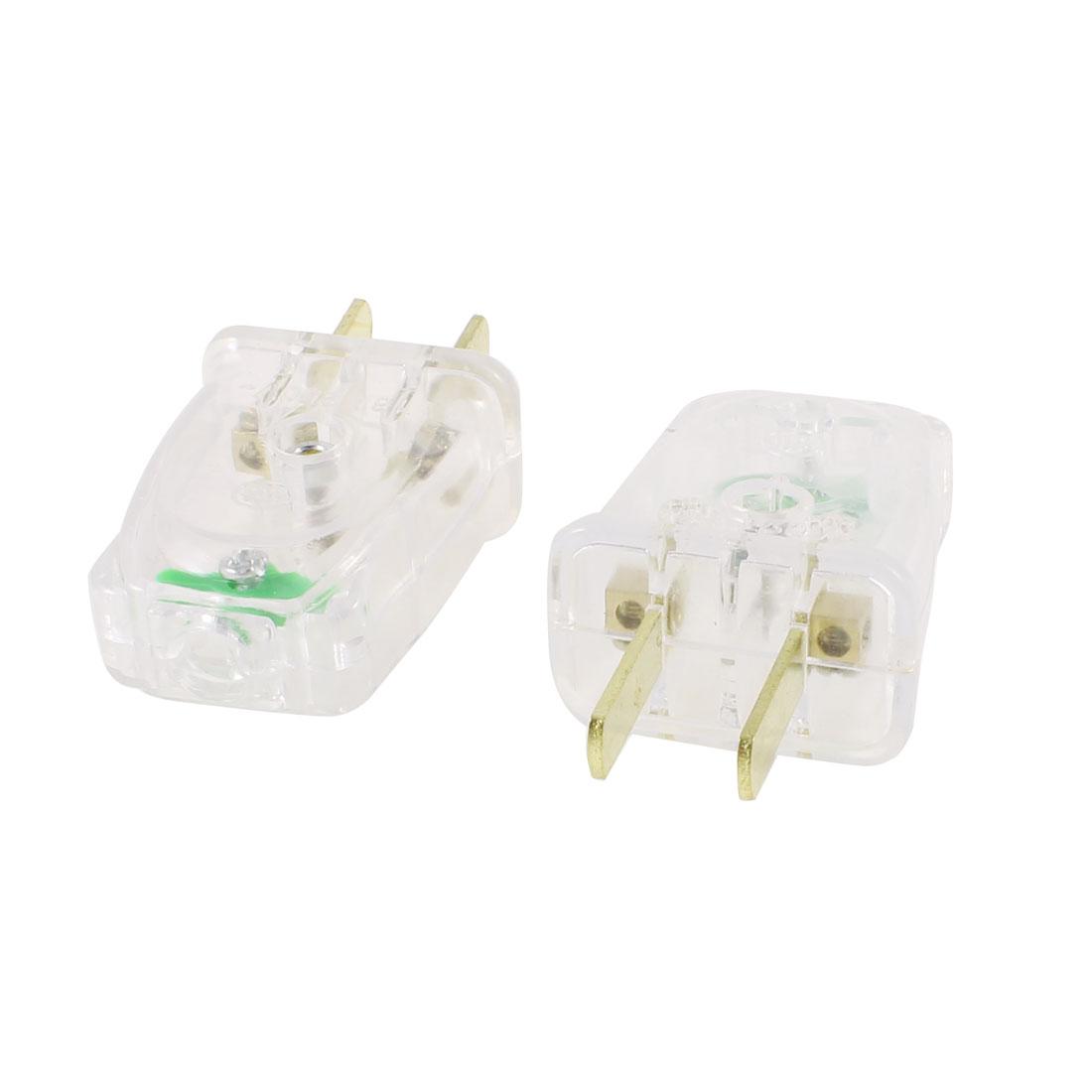 2 Pcs Clear Plastic Shall 2 Flat Pin US Plug Power Adapter AC 250V 16A