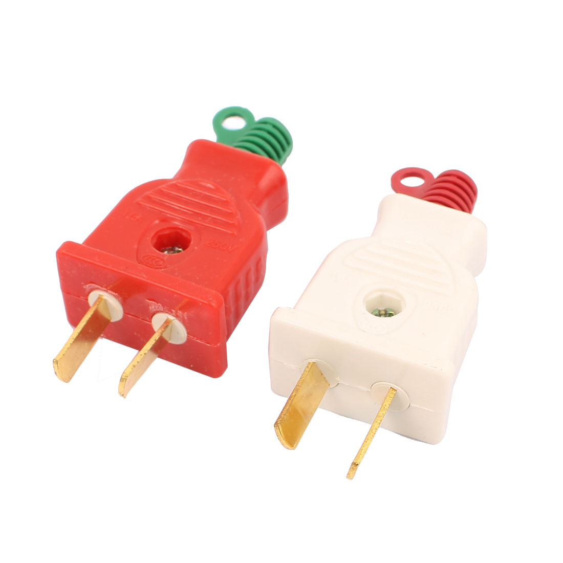 2 Pcs 250VAC 16A Red White Case 2 Flat Pin AU Power Cable Plug Power Adapter
