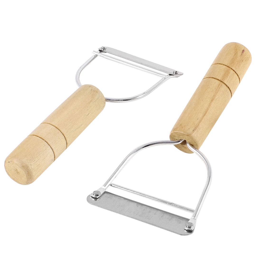 2 Pcs Fruit Vegetable Wooden Handle Stainless Steel Cutter Peeler 5.1""