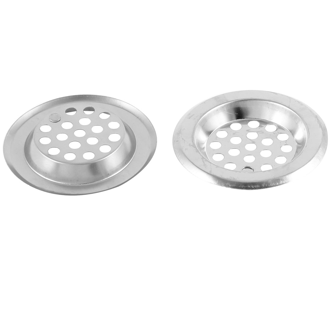 "2 Pcs Home Hole Mesh 0.3"" Depth Floor Drain Sink Drainer Strainer Silver Tone"