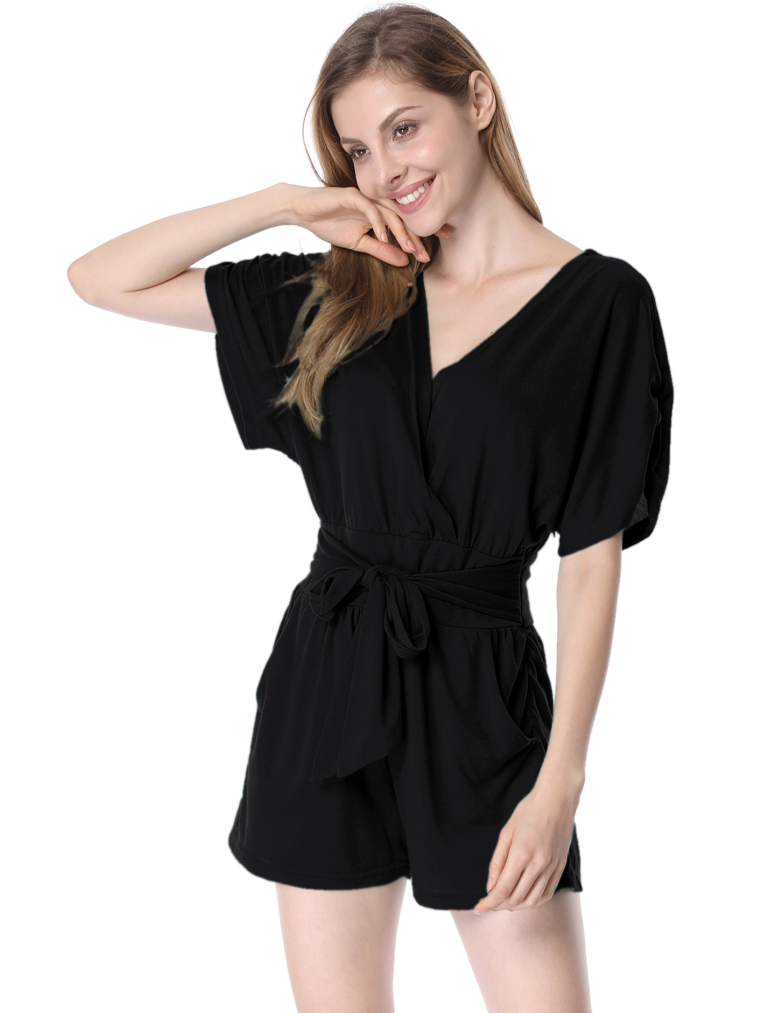 Women NEW Crossover V-Neck Self-Tie Waist Strap Design Black Romper M