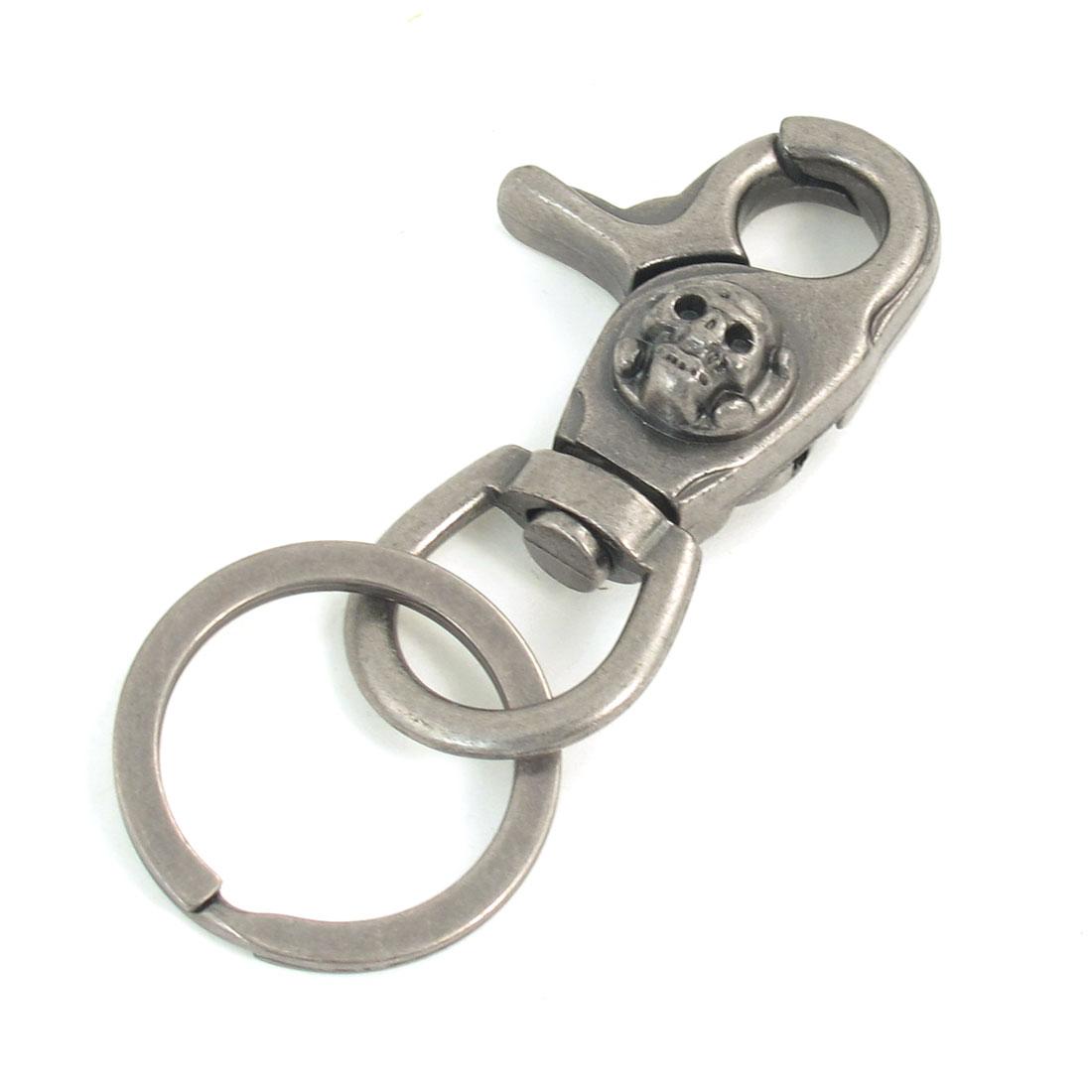Skull Head Detail Gray Lobster Clasp Keys Holder Keyring Key Ring