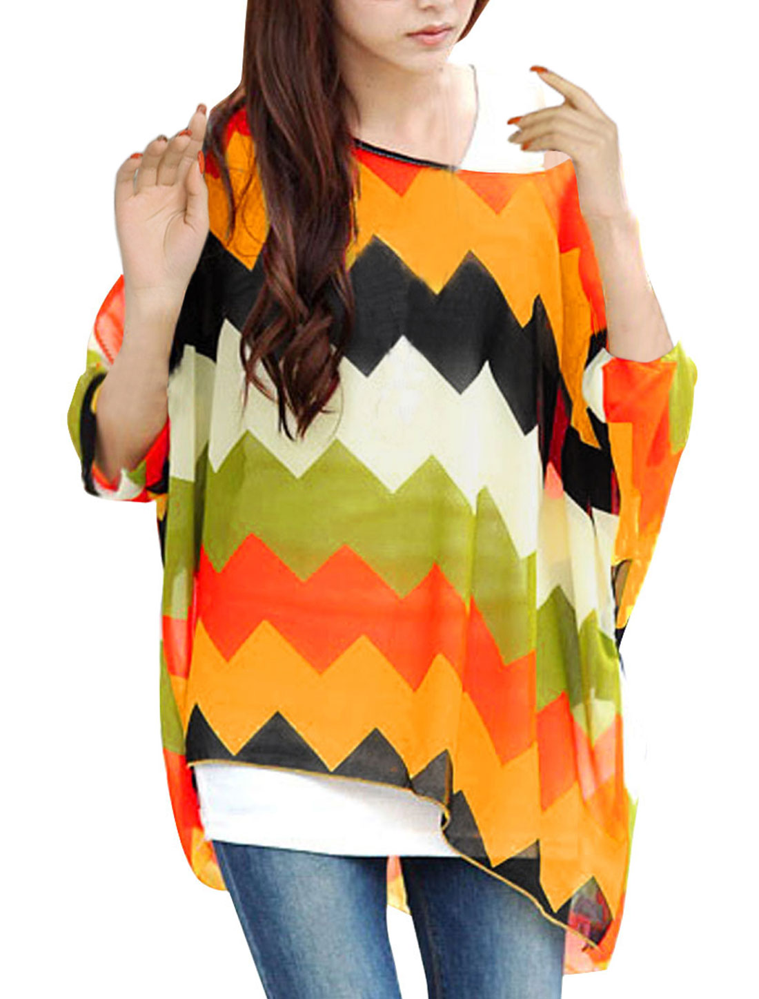 Ladies Batwing Sleeve Zigzag Pattern Loose Top Shirt Orange Black L
