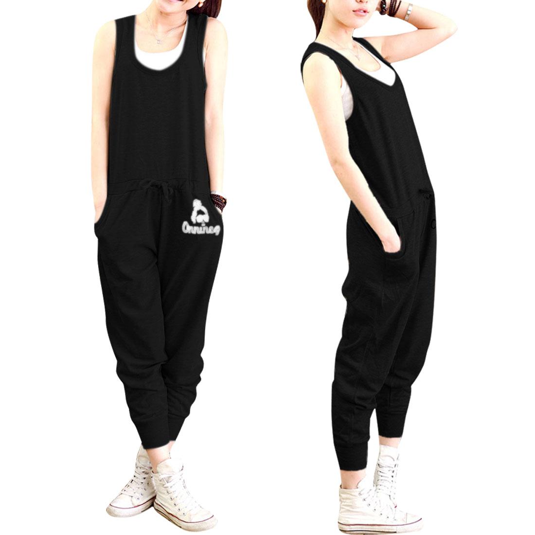 Ladies Scoop Neck Pullover Drawstring Waist Jumpsiut Black XS