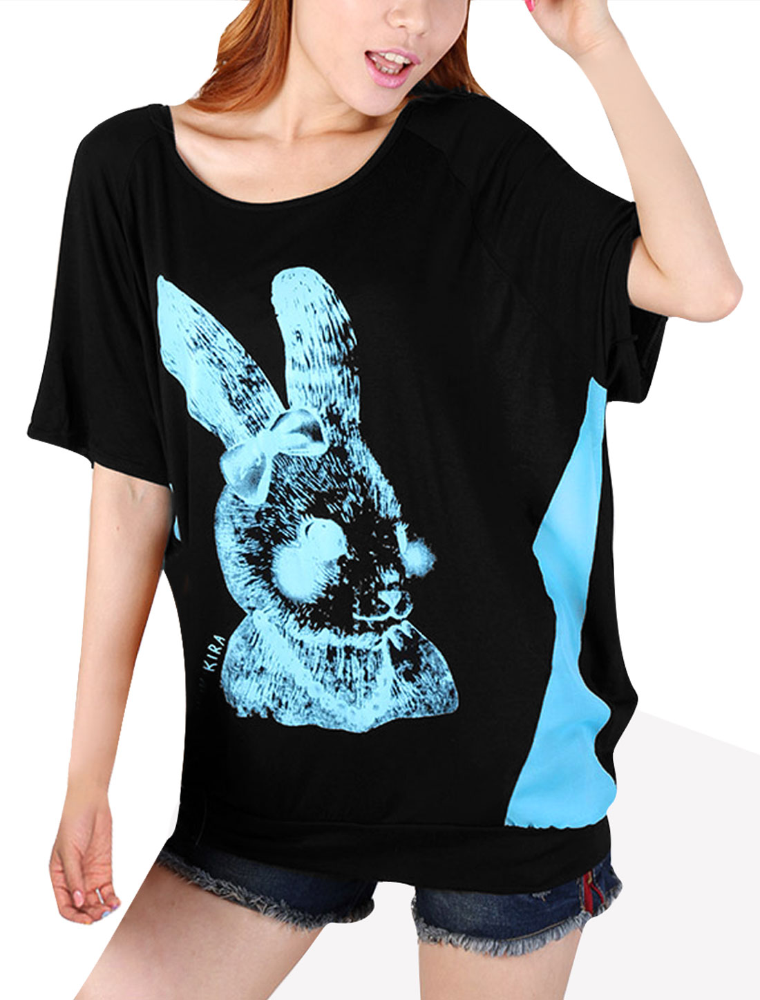 Ladies Semi-Sheer Back Design Rabbit Pattern Sky Blue Black Top Shirt M