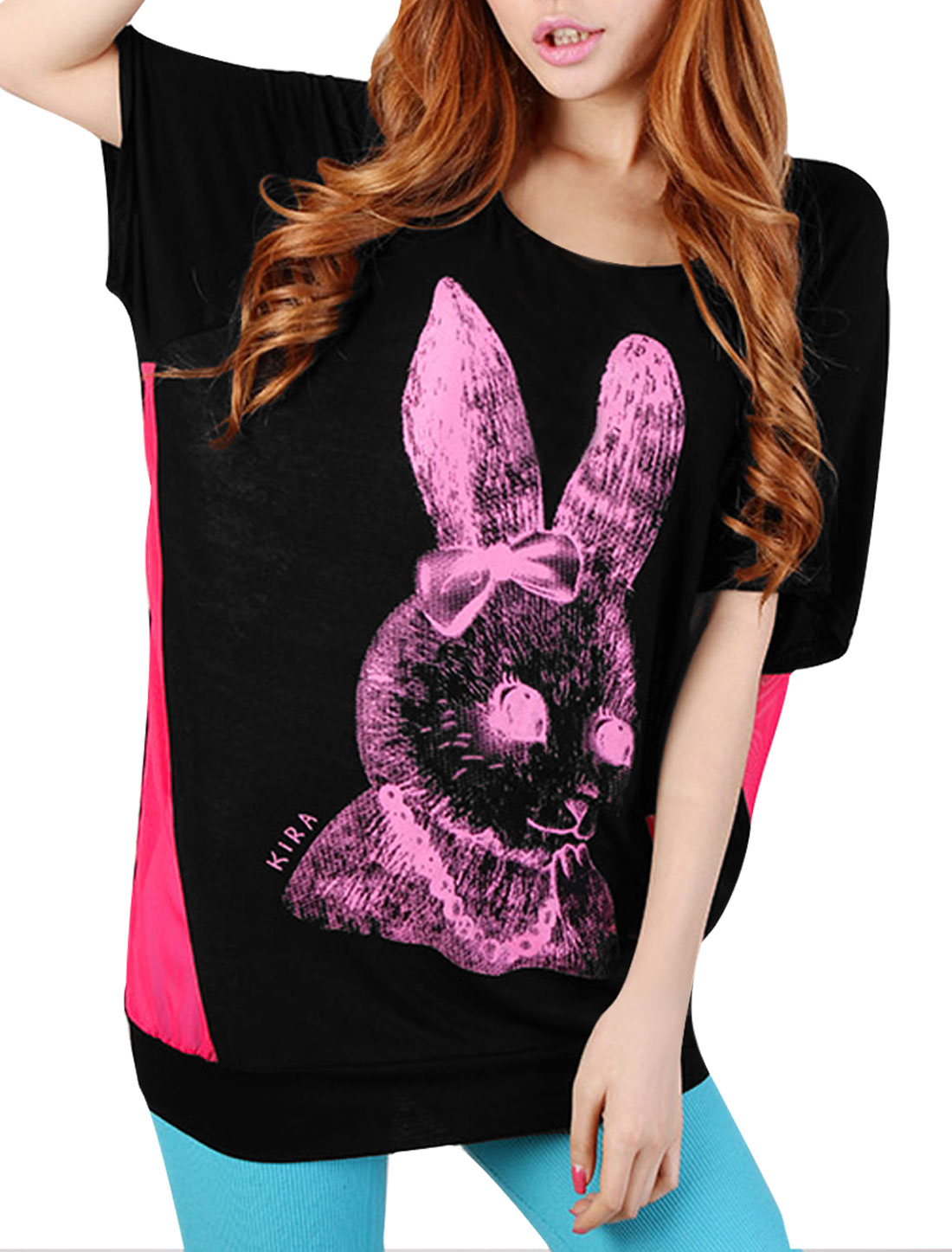 Woman Cartoon Rabbit Pattern Design Contrast Color Fuchsia Black Top Shirt M