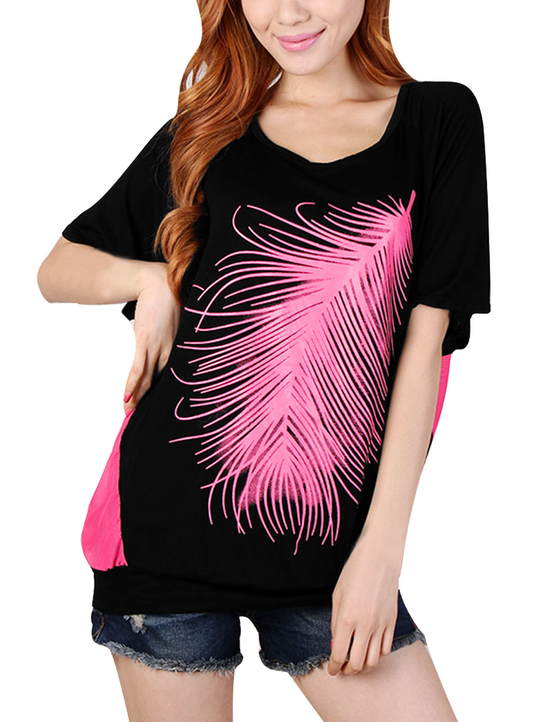 Woman NEW Scoop Neck Short Dolman Sleeve Feather Prints Fuchsia Black Top M