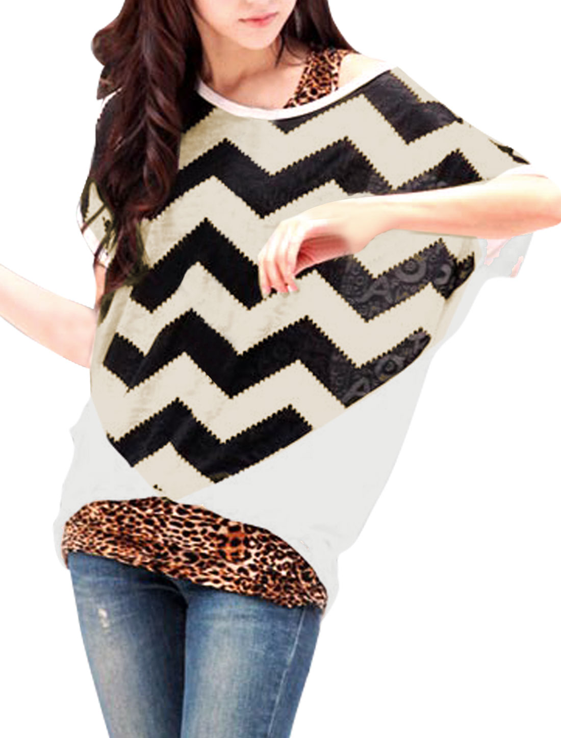 Ladies Color Block Round Neck Zig Zag Pullover Tunic Shirt White M