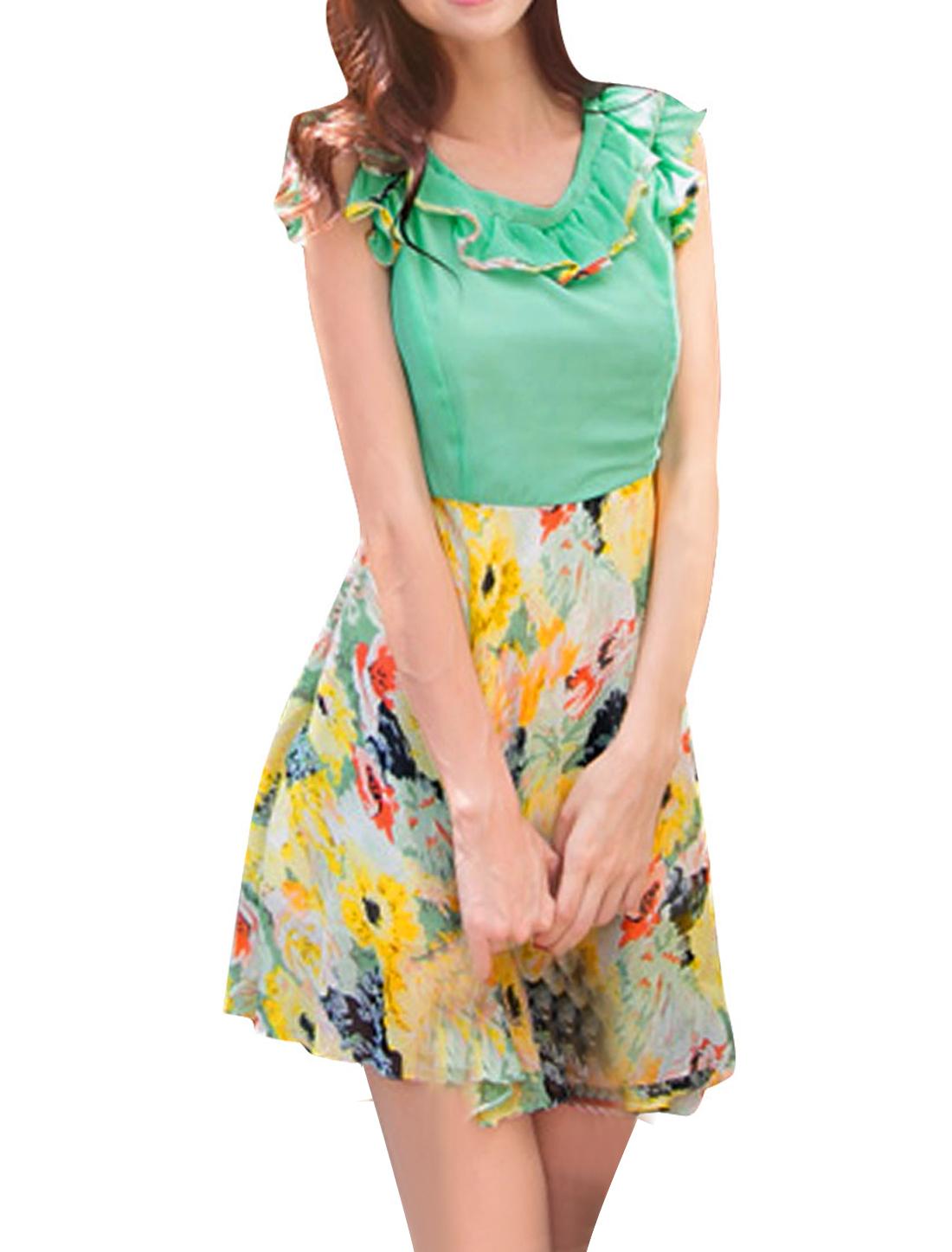 Scalloped Irregular Hem Multicolor Stylish Chiffon Dress for Women Green S