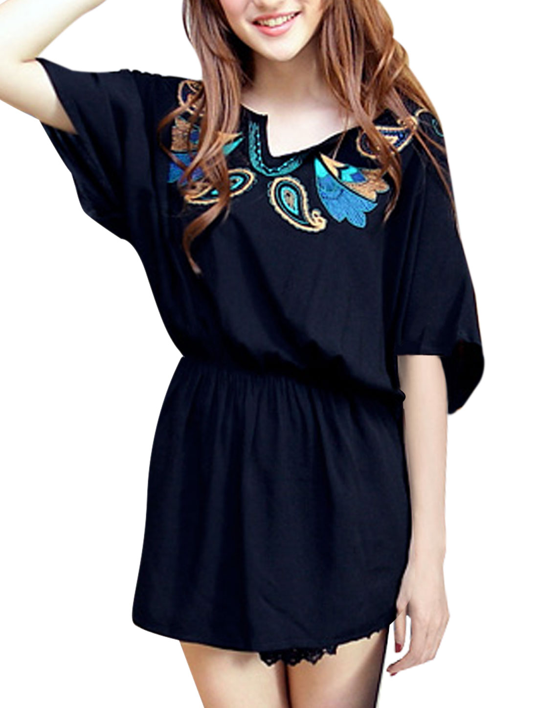 Women Embroidery Patterm Color Contrast Tunic Blouse Dark Blue S