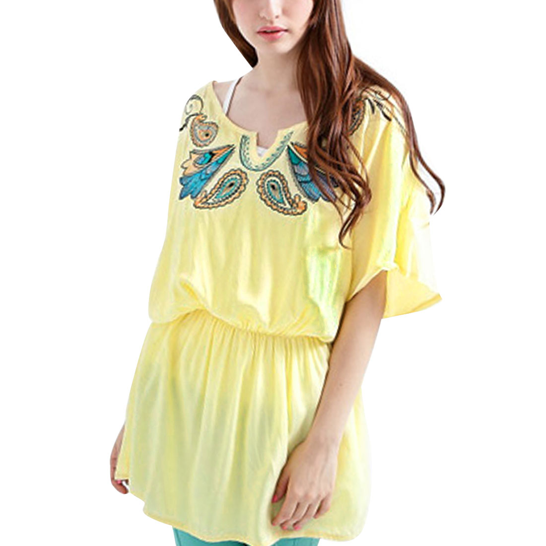 Ladies Dolman Elastic Waist Short-sleeved Tunic Shirts Light Yellow S