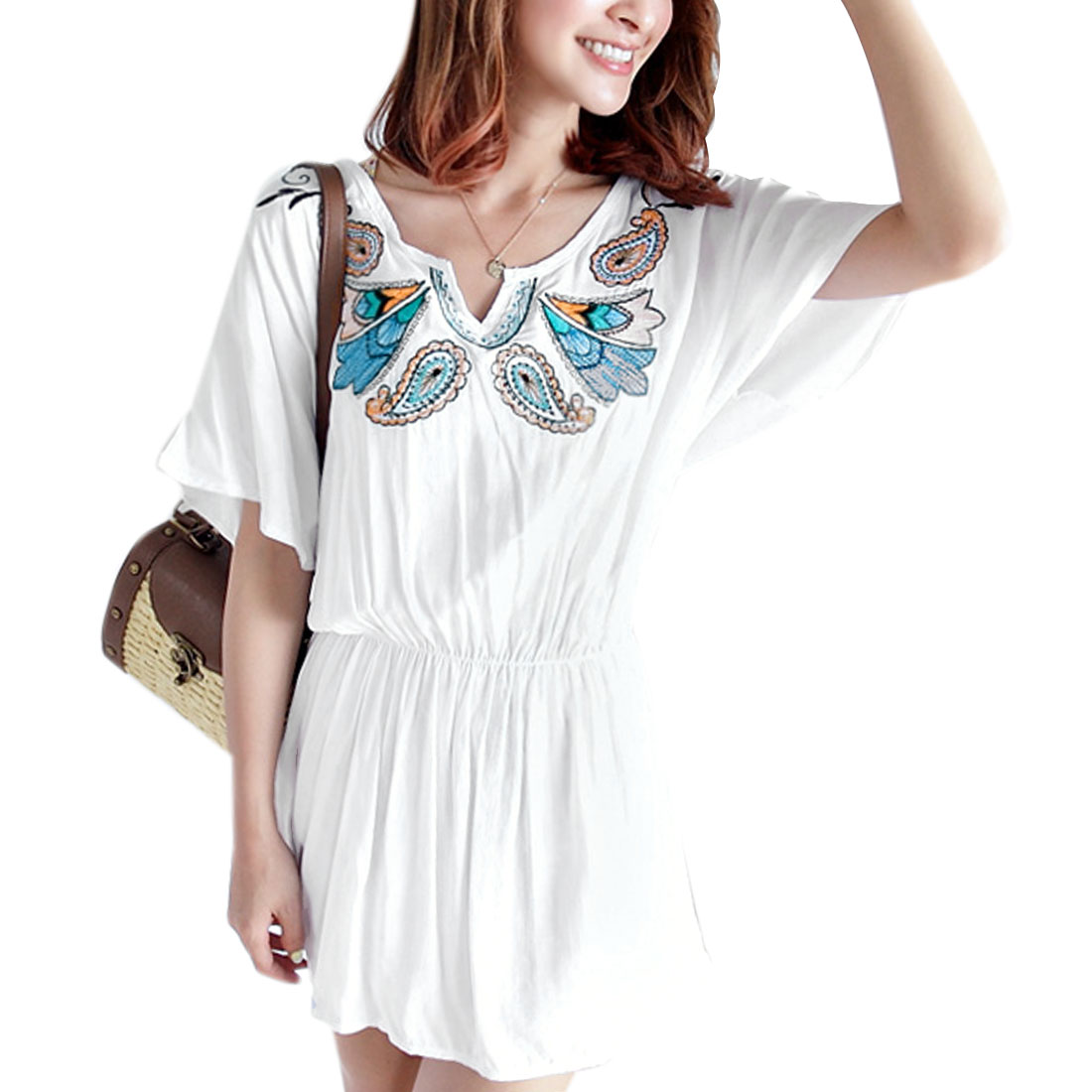 Ladies Short Sleeves Embroidery Prints Tunic Shirts White S