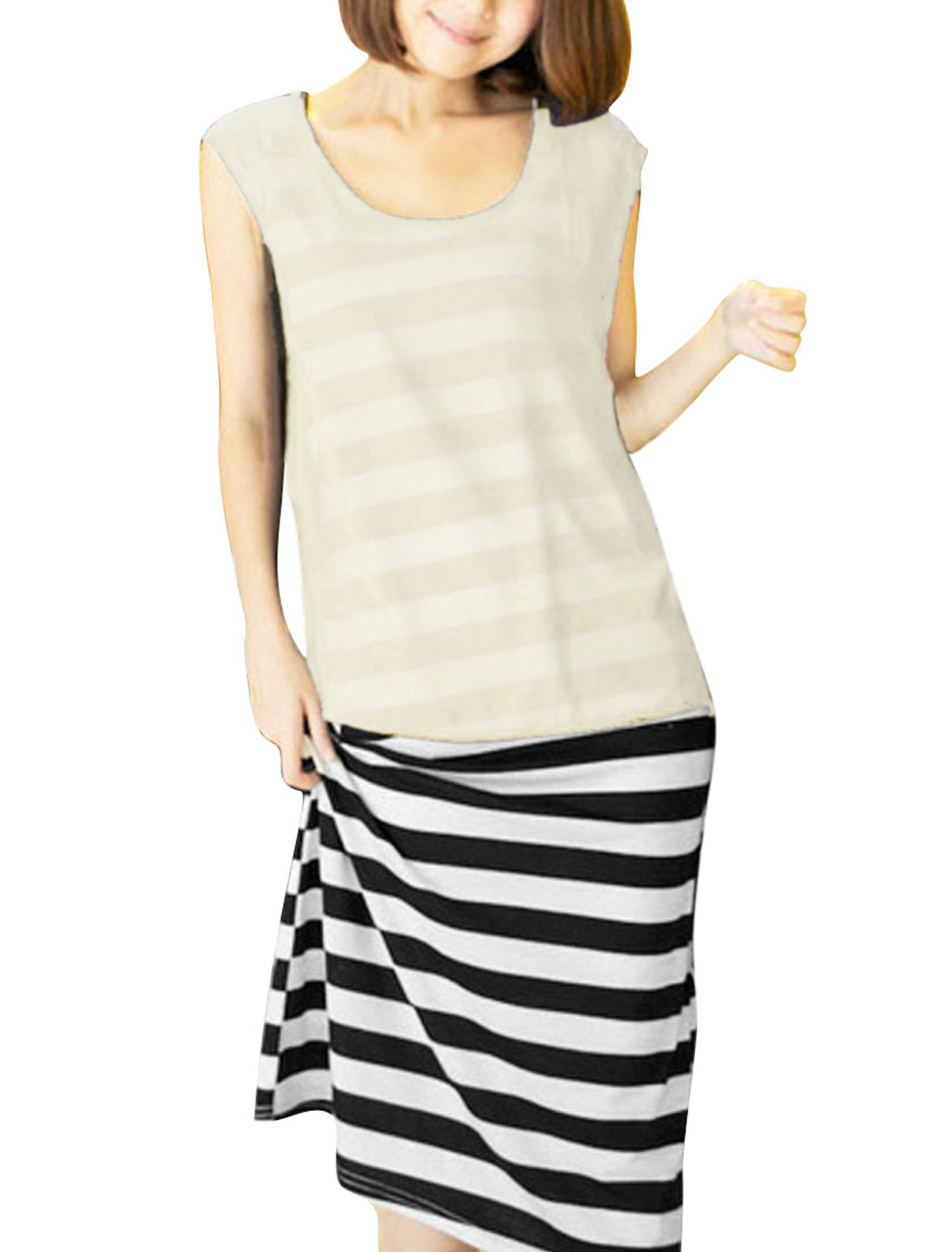 Ladies Sleeveless Smock & Stripes Tank Dress Cream White XS
