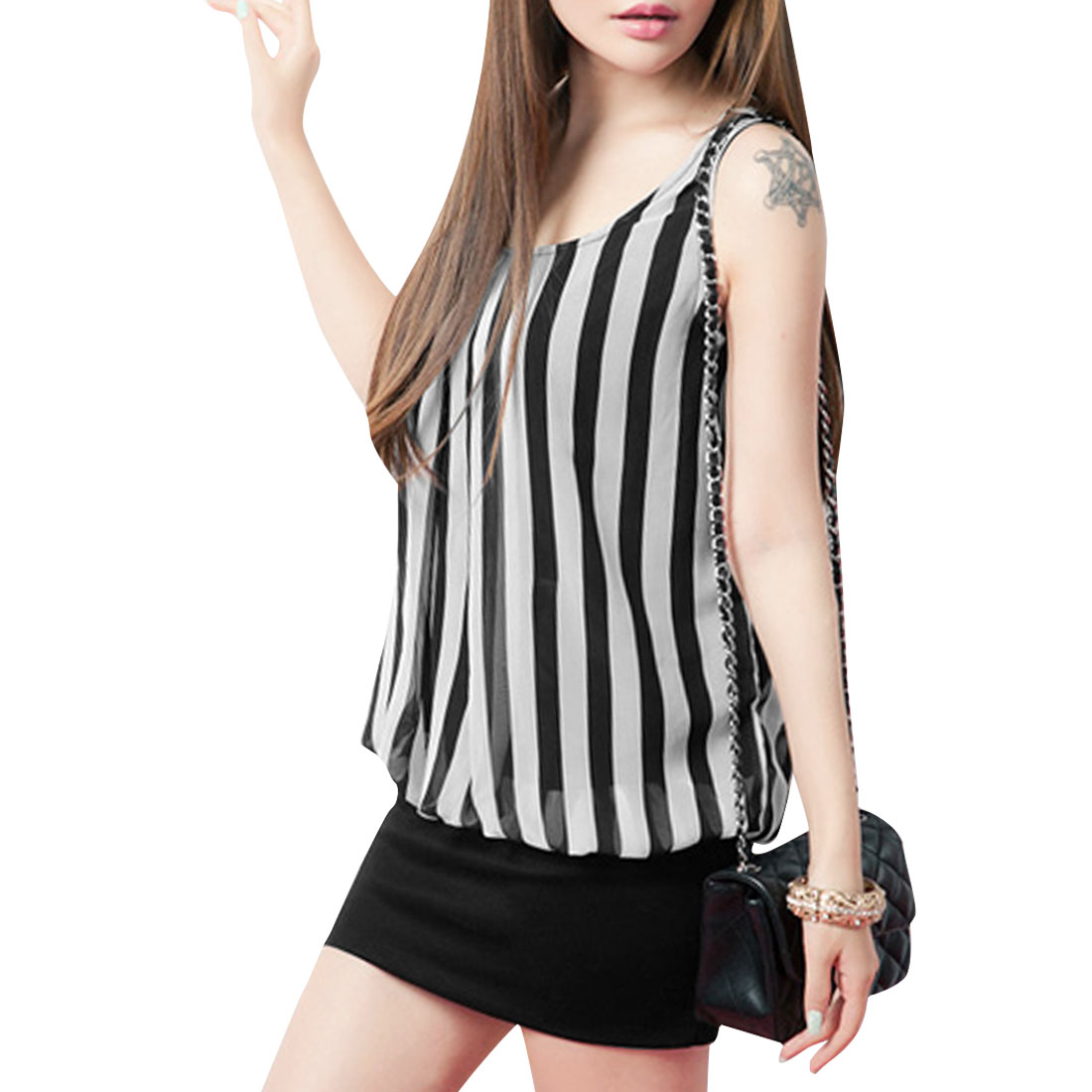 Lady Black White Stripes Design Round Neck Sleeveless Patchwork Dress XS