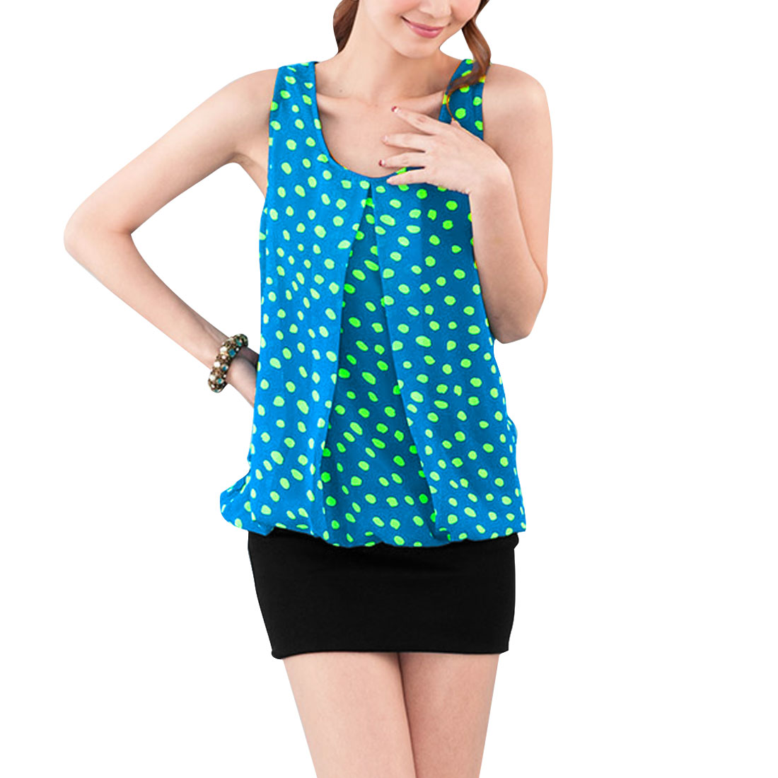 Lady Blue Black Dots Design Round Neck Sleeveless Panel Dress XS