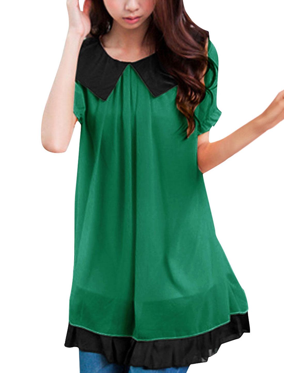 Lady Green Flouncing Hem Peter Pan Collar Layered Shirts Tunic Shirt XS