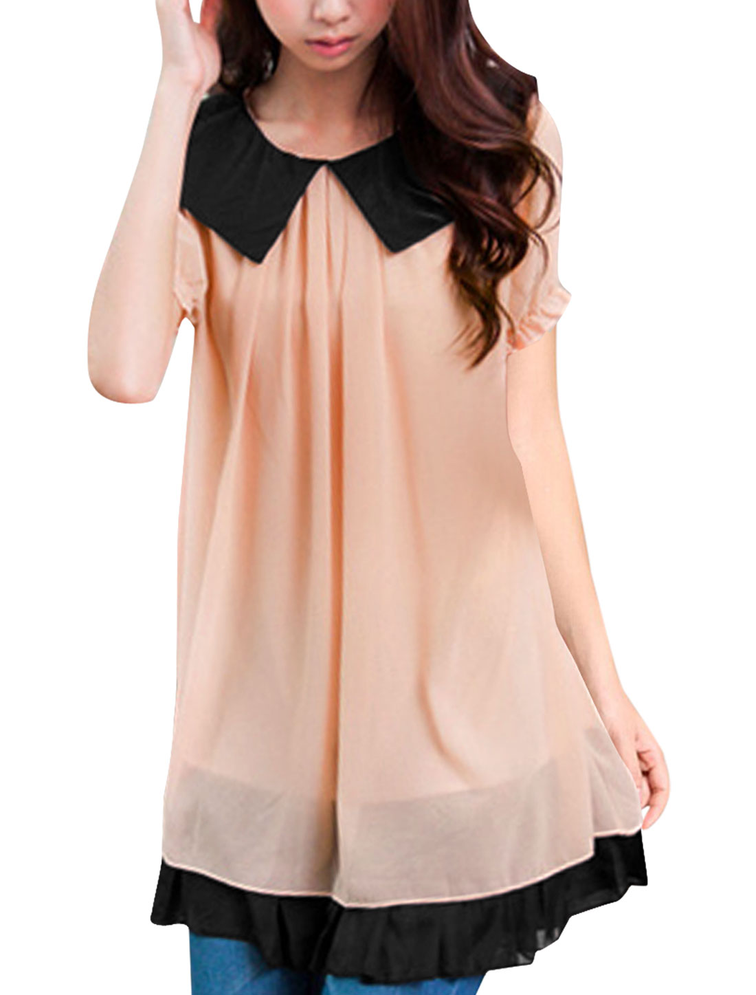 Lady Pink Peter Pan Collar Puff Sleeve Fake Two Pieces Tunic Shirt Dress XS