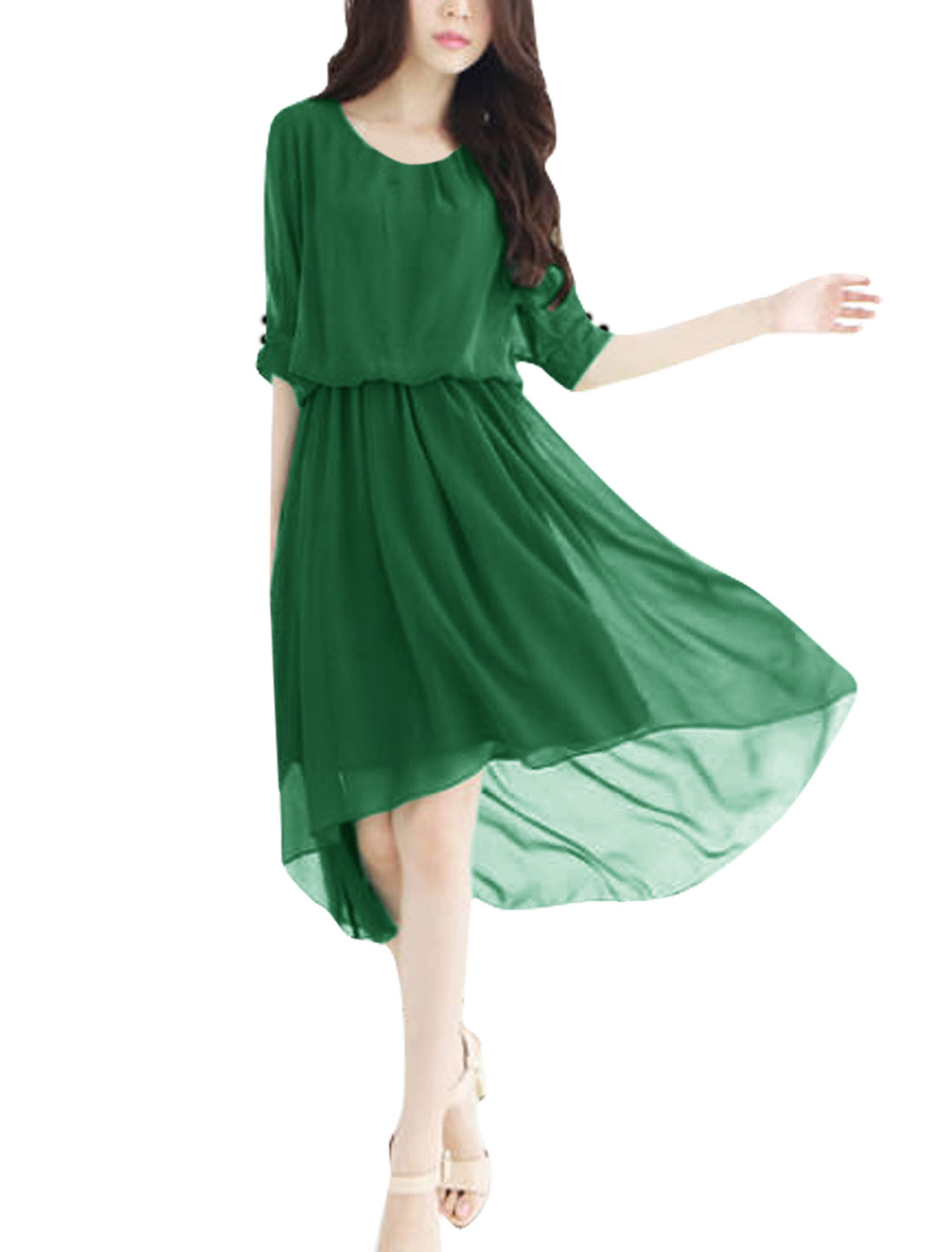 Women Buttoned Cuff Irregular Hem Chiffon Casual Dress Green XS