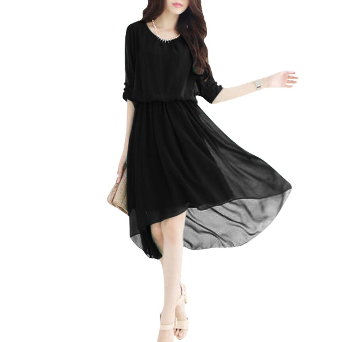 Ladies Short Sleeve Cut Out Shoulder Fashional Dress Black XS
