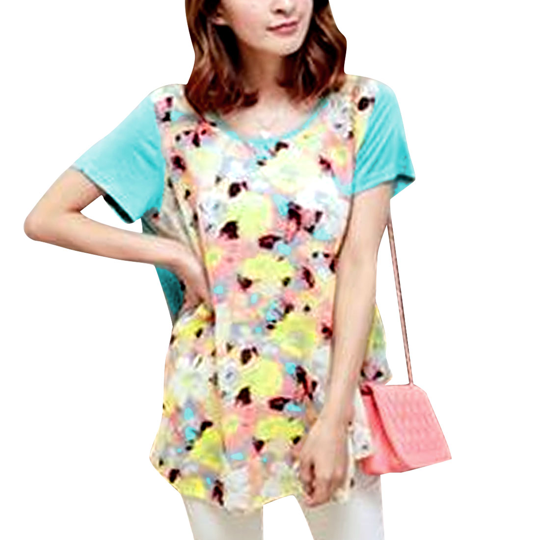 Ladies Irregular Hem Short Sleeve Round Neck Tunic Shirt Pale Blue S