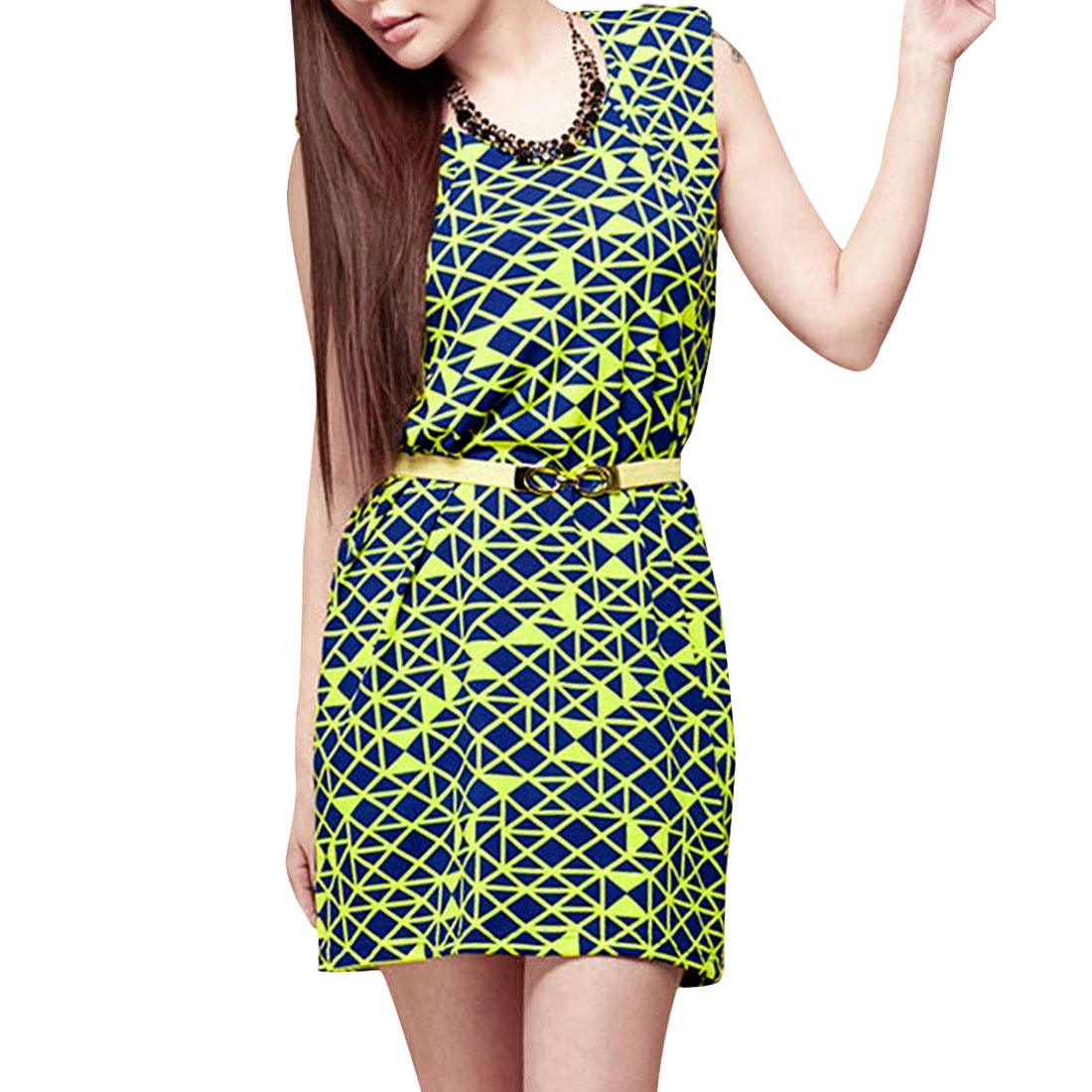 Ladies Color Block Round Neck Sleeveless Design Two Tone Dress Lime Blue S