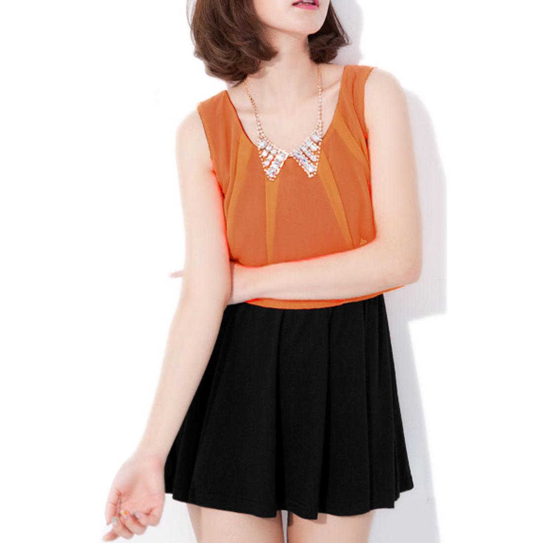 Ladies Above Knee Spliced Chiffon Round Neck Dress Light Orange S