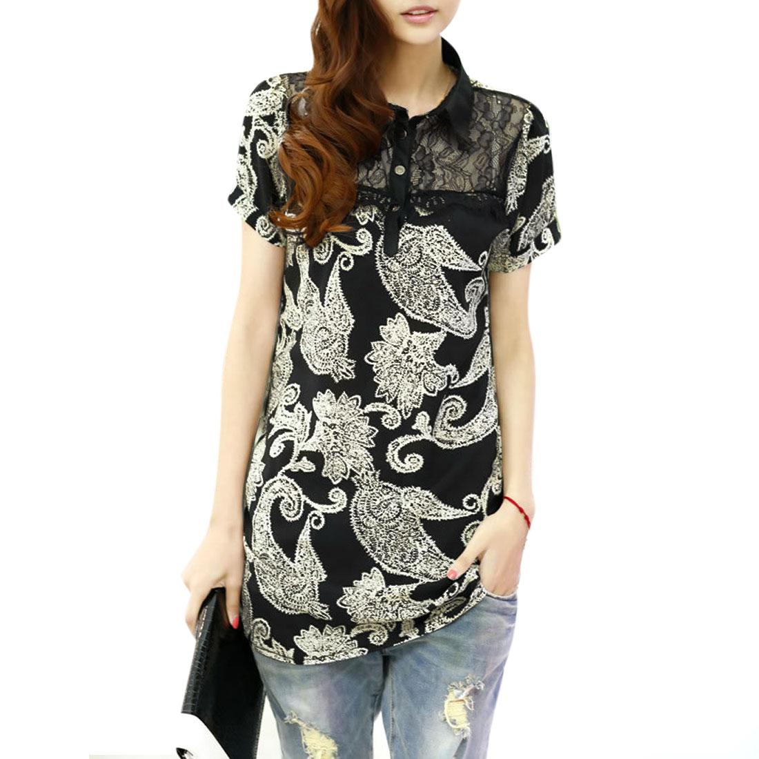 Women Buttons Front Flowers Design Short Sleeve Shirt Beige Black S