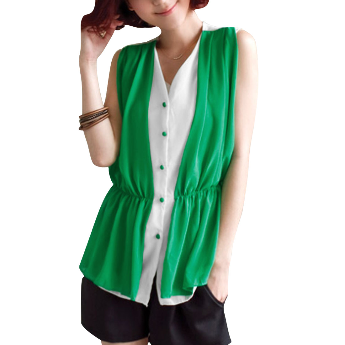 Lady White Green V Neck Sleeveless Elastic Waist Layered Shirts Top XS