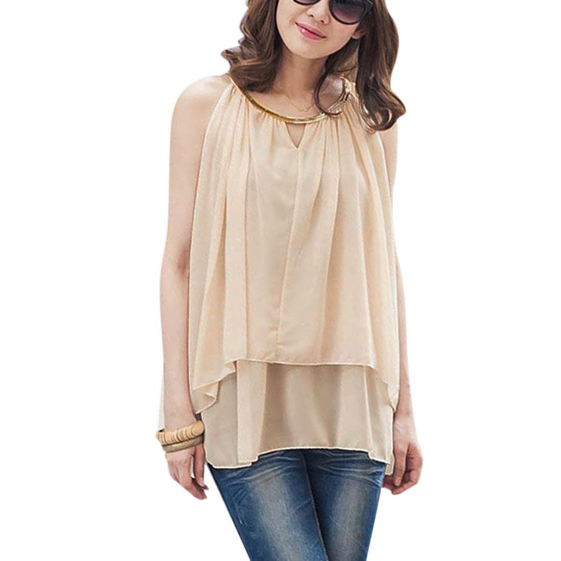 Women Chiffon Layered V Neck Hot Casual Tops Shirts Apricot S