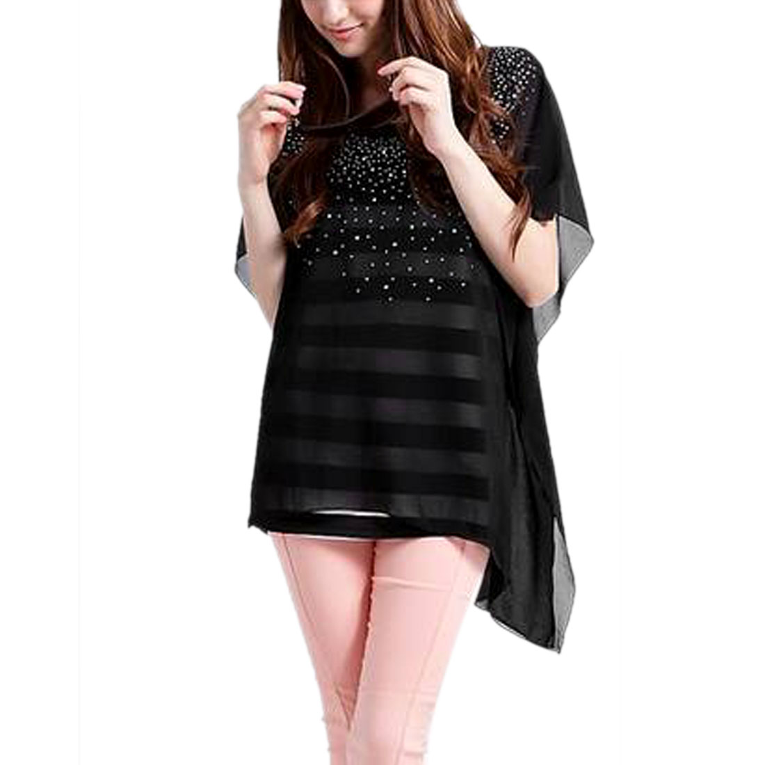 Women Stripes Prints Fake Two-pieces Short Sleeves Dress Black XS