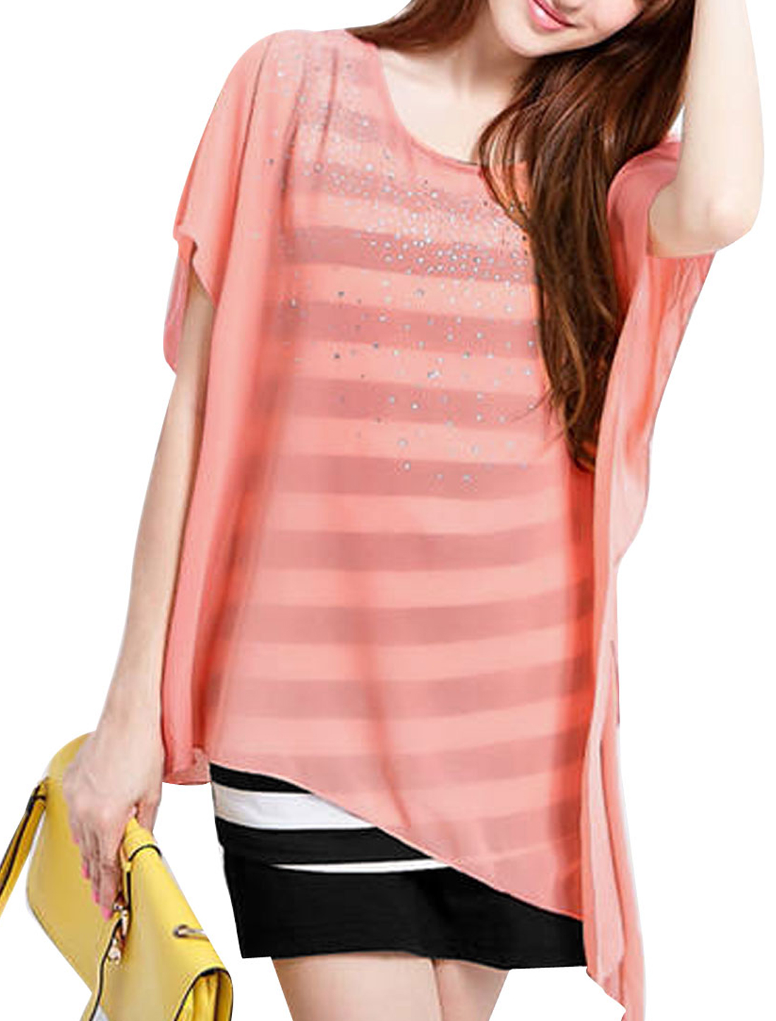 Ladies Spliced Short Sleeve Fake Two Pieces Chic Dress Pink XS