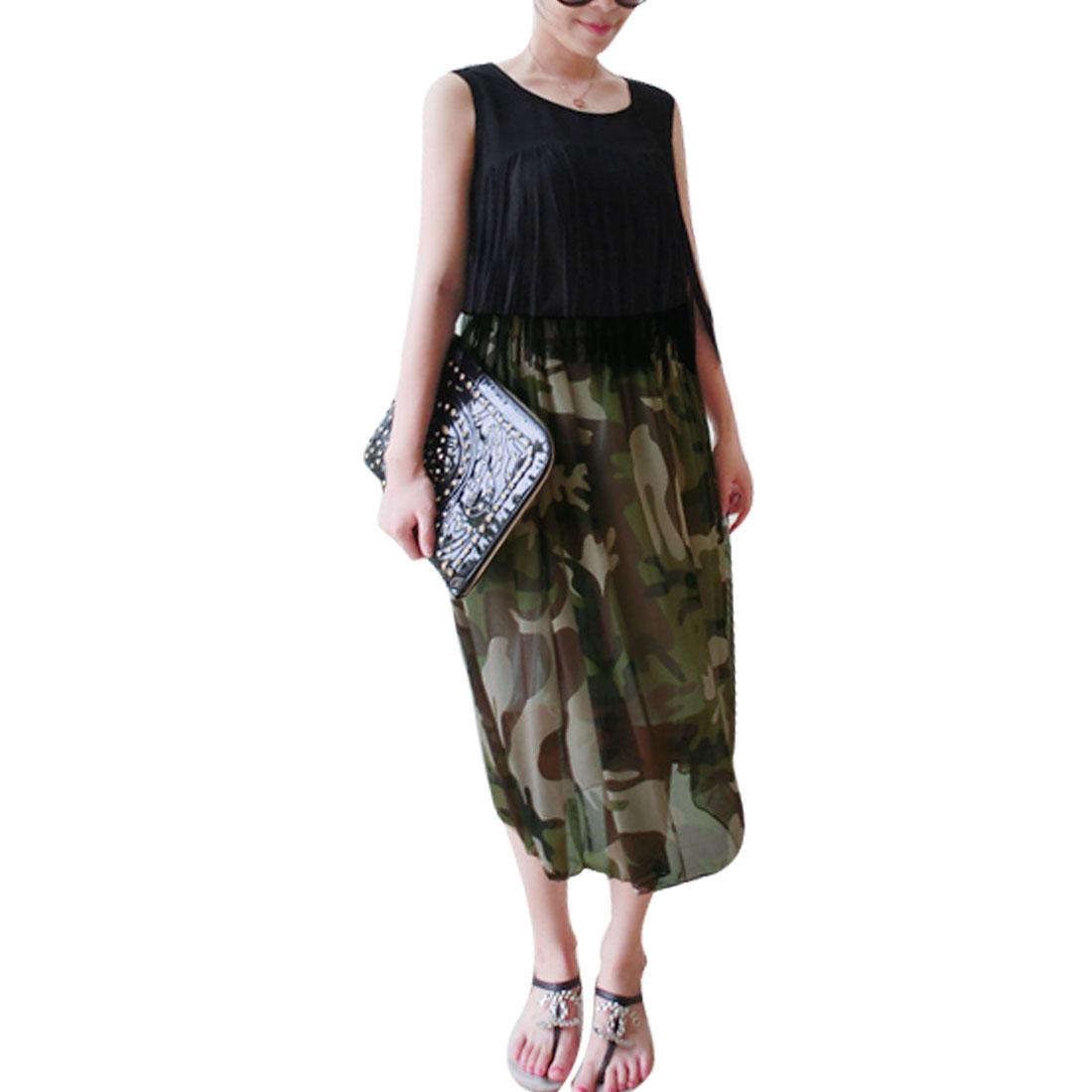 Women Camouflage Pattern Off Shoulder Design Color Block Dress Brown XS