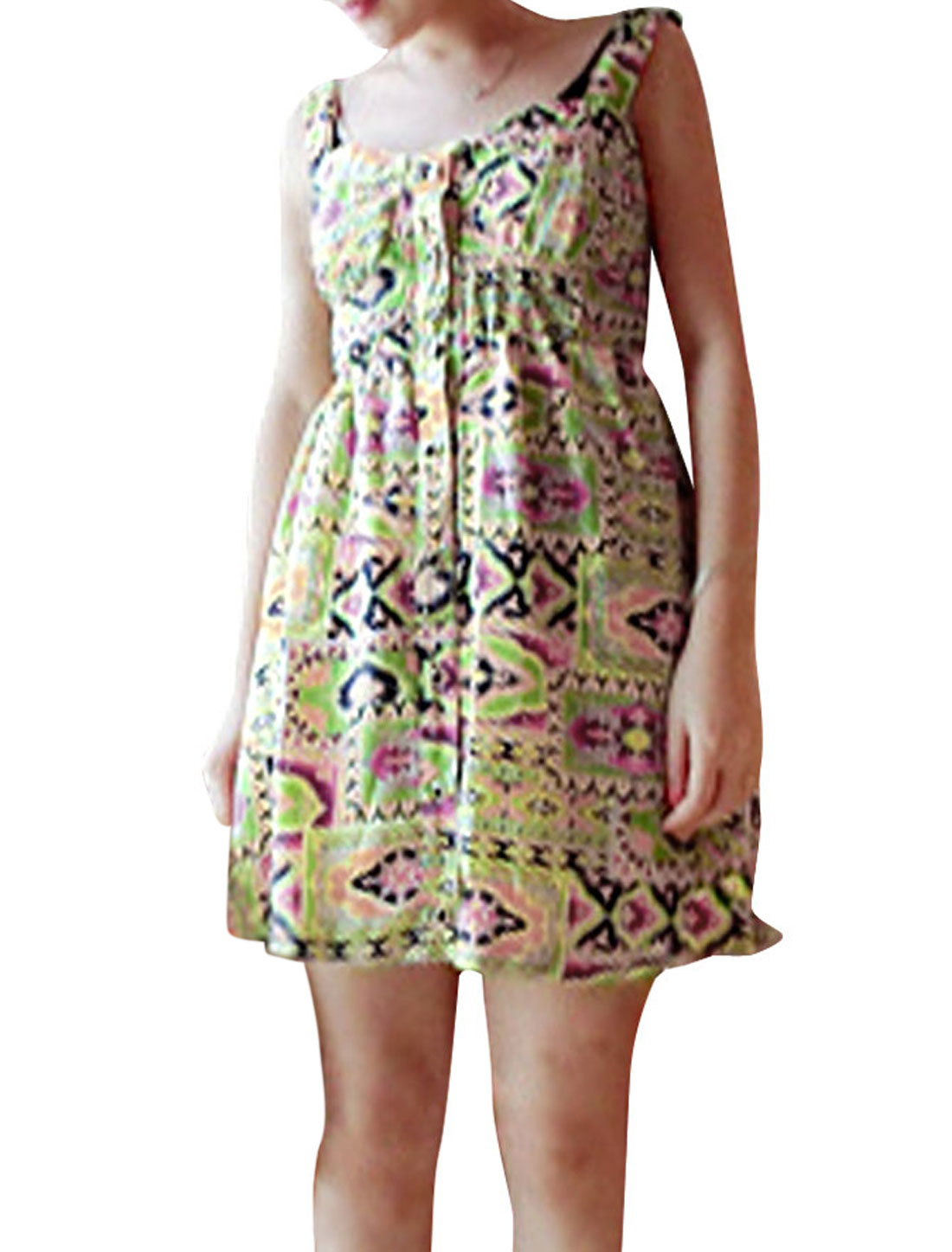 Lady Yellow Straps Button Decor Novelty Pattern Dress XS