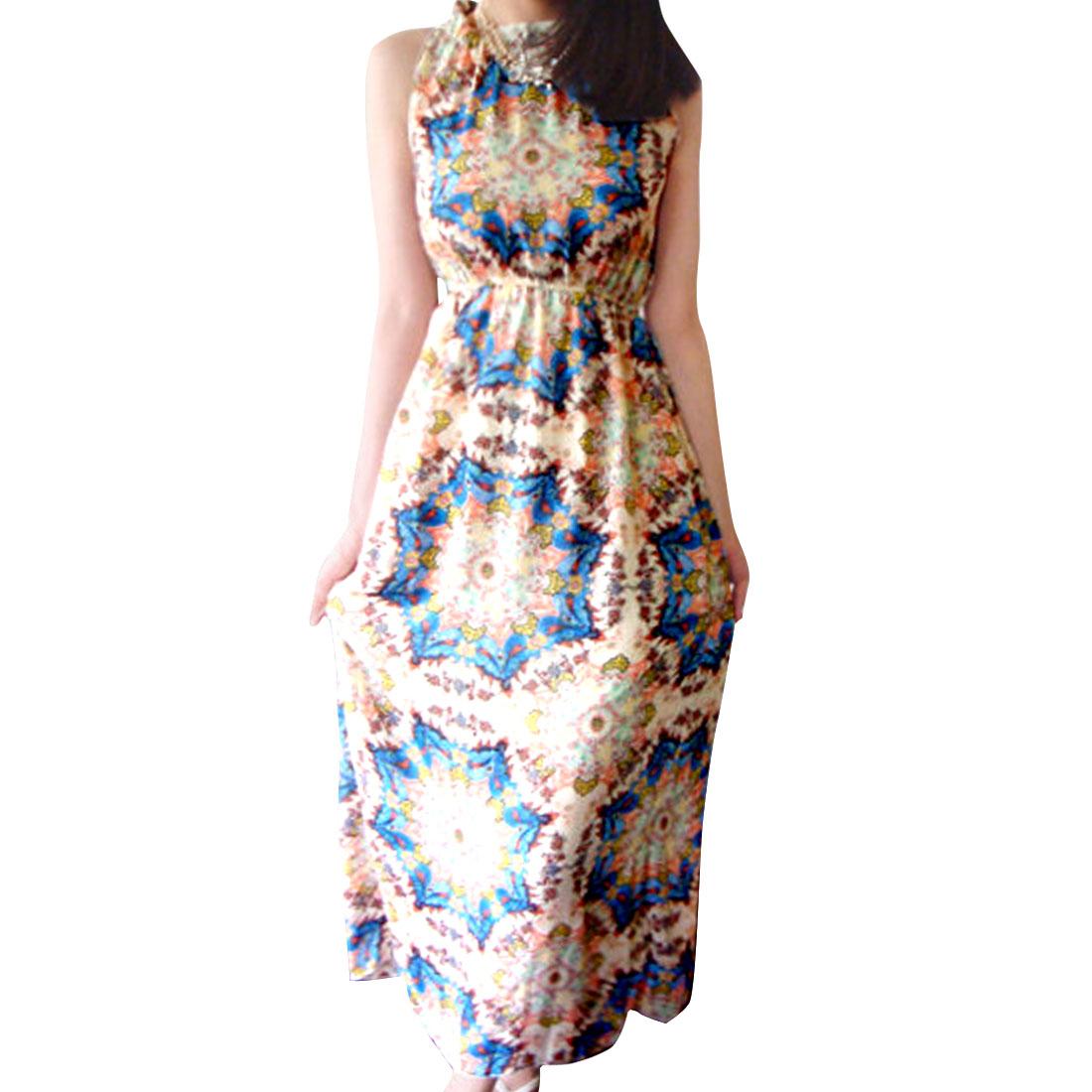 Lady Multicolor Elastic Waist Sleeveless Floral Pattern Dress S