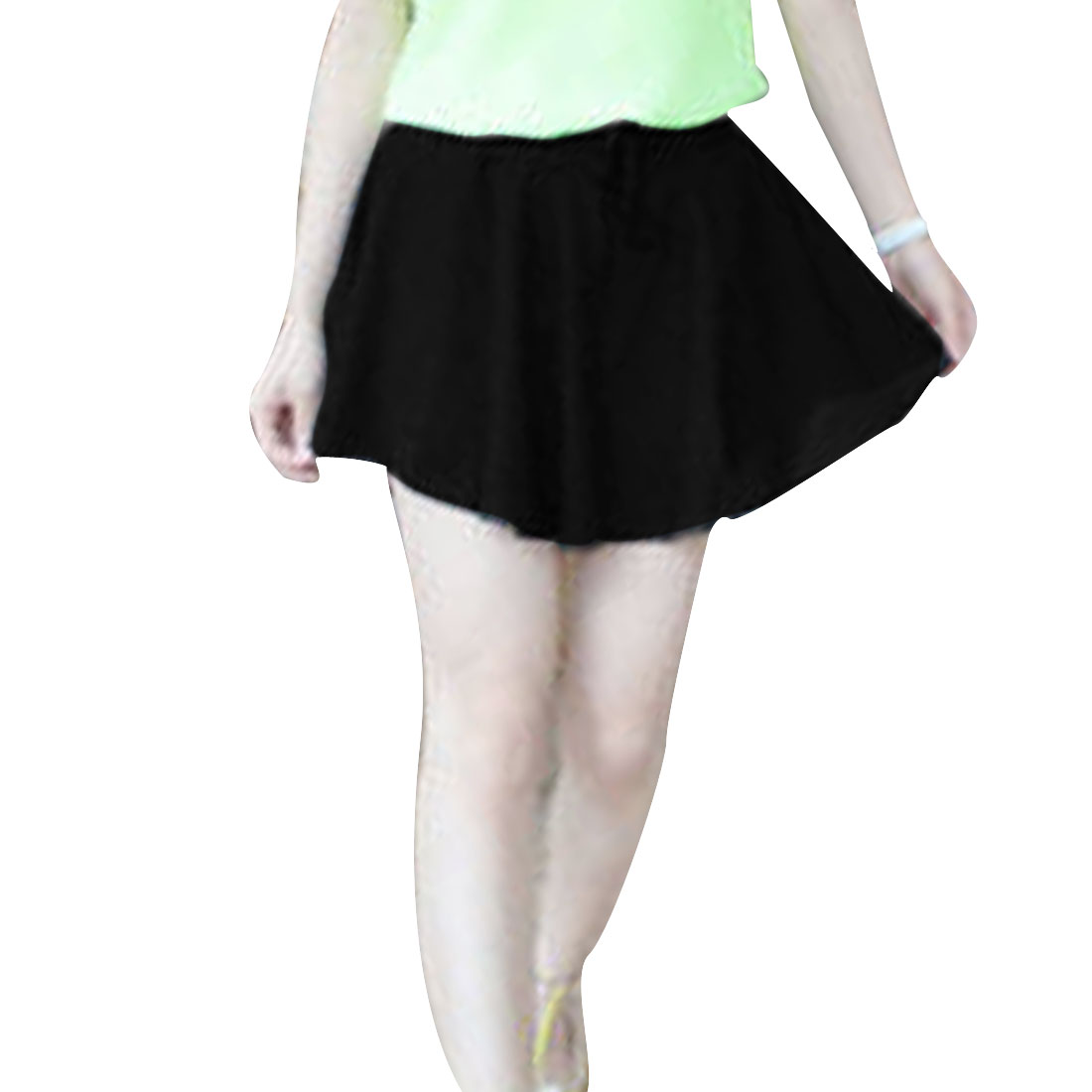 Woman New Fashion Pure Black Color Pleated Short Seperate Skirt XS